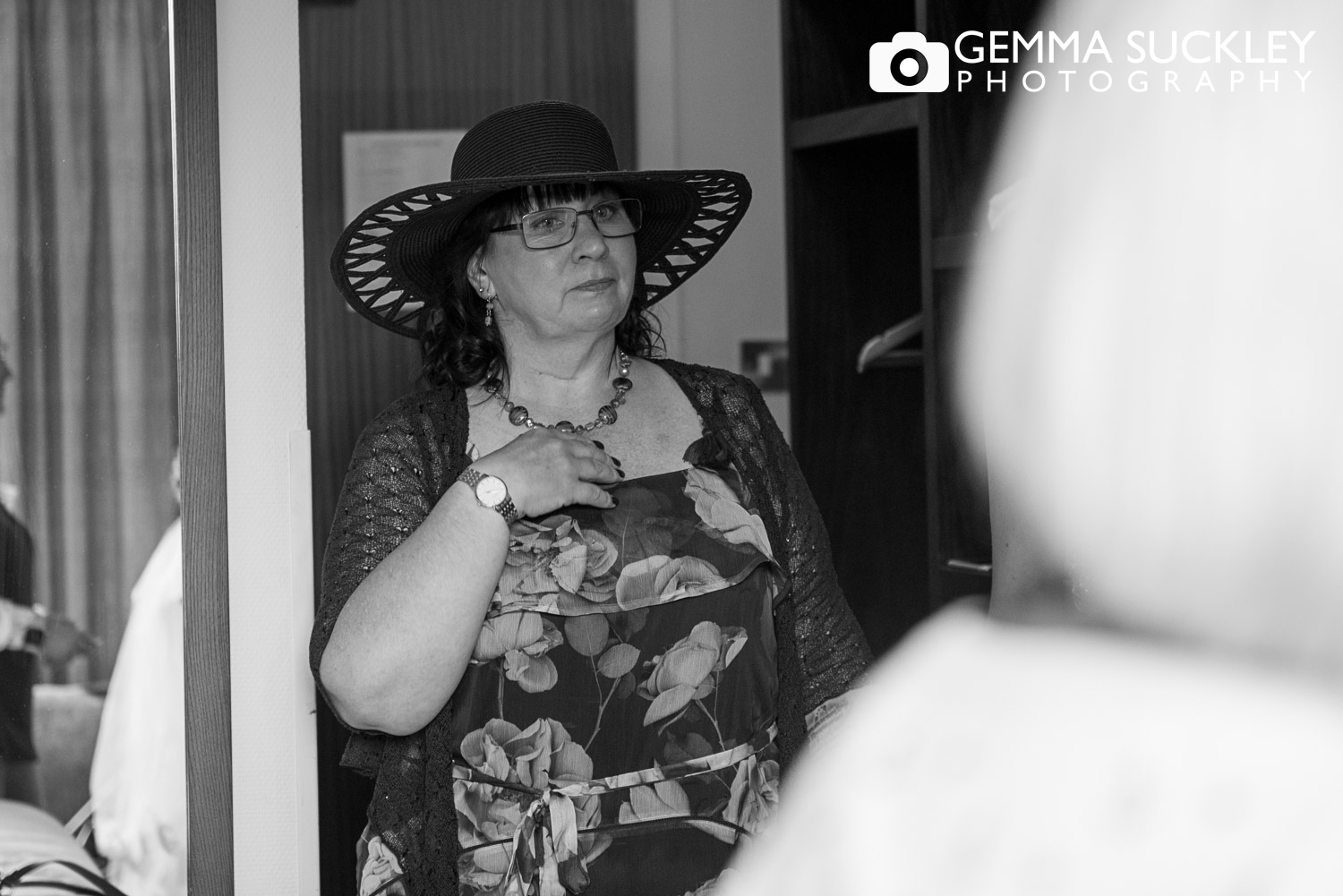 mother of the bride looking emotional seeing her daughter at the mercure hotel