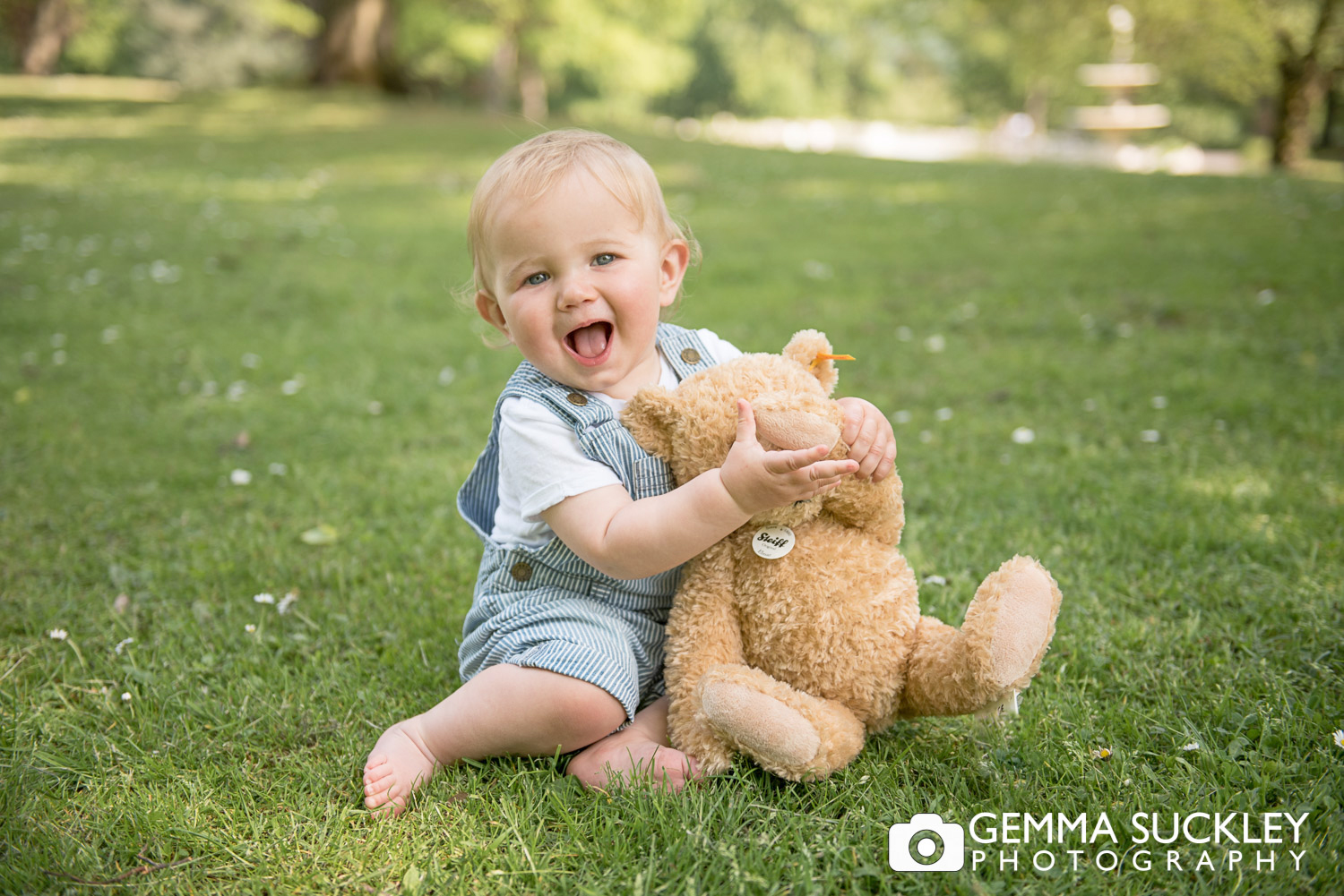 little boy with a teddy bear at photo shoot in North Yorkshire