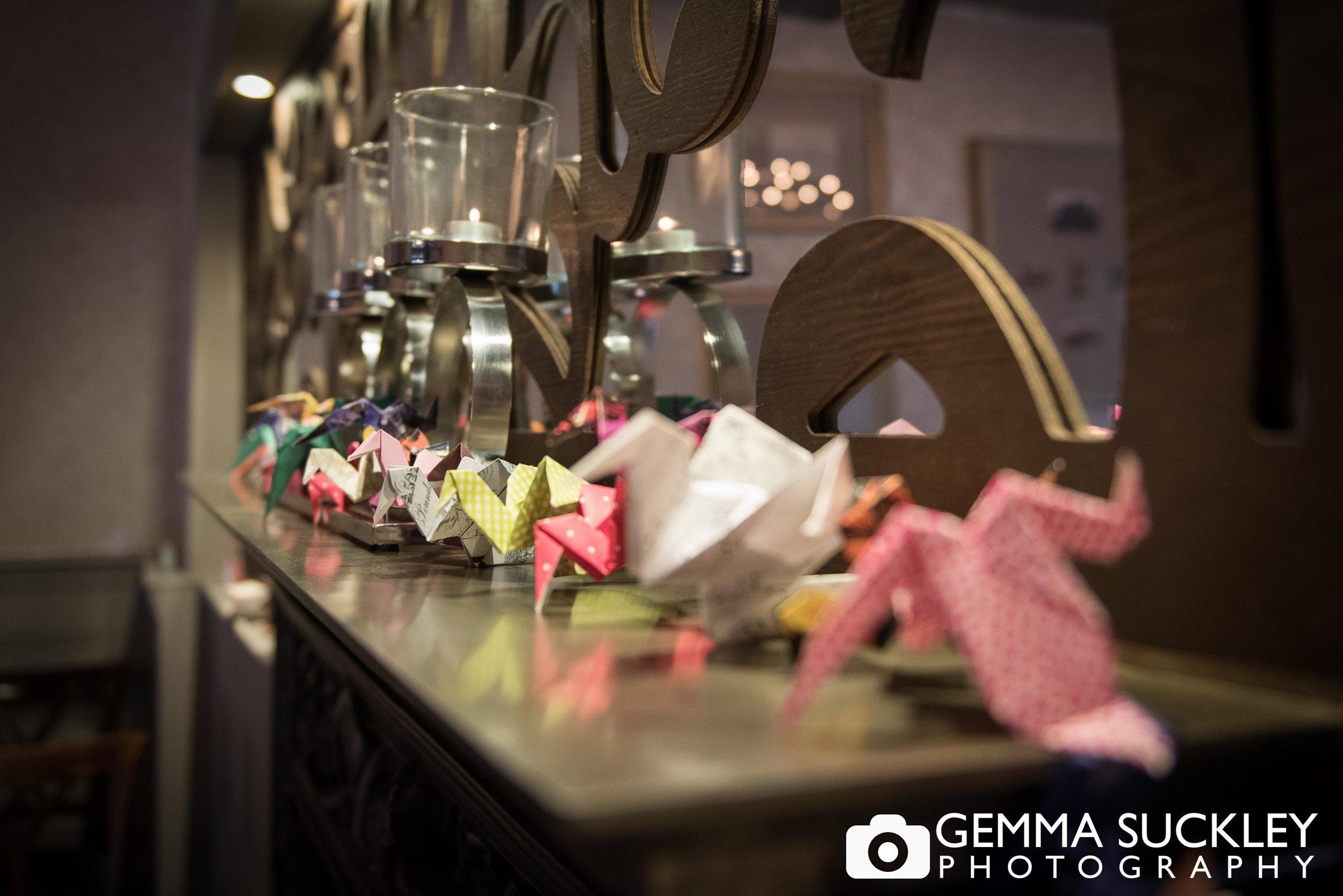 origami wedding detail at grassington house