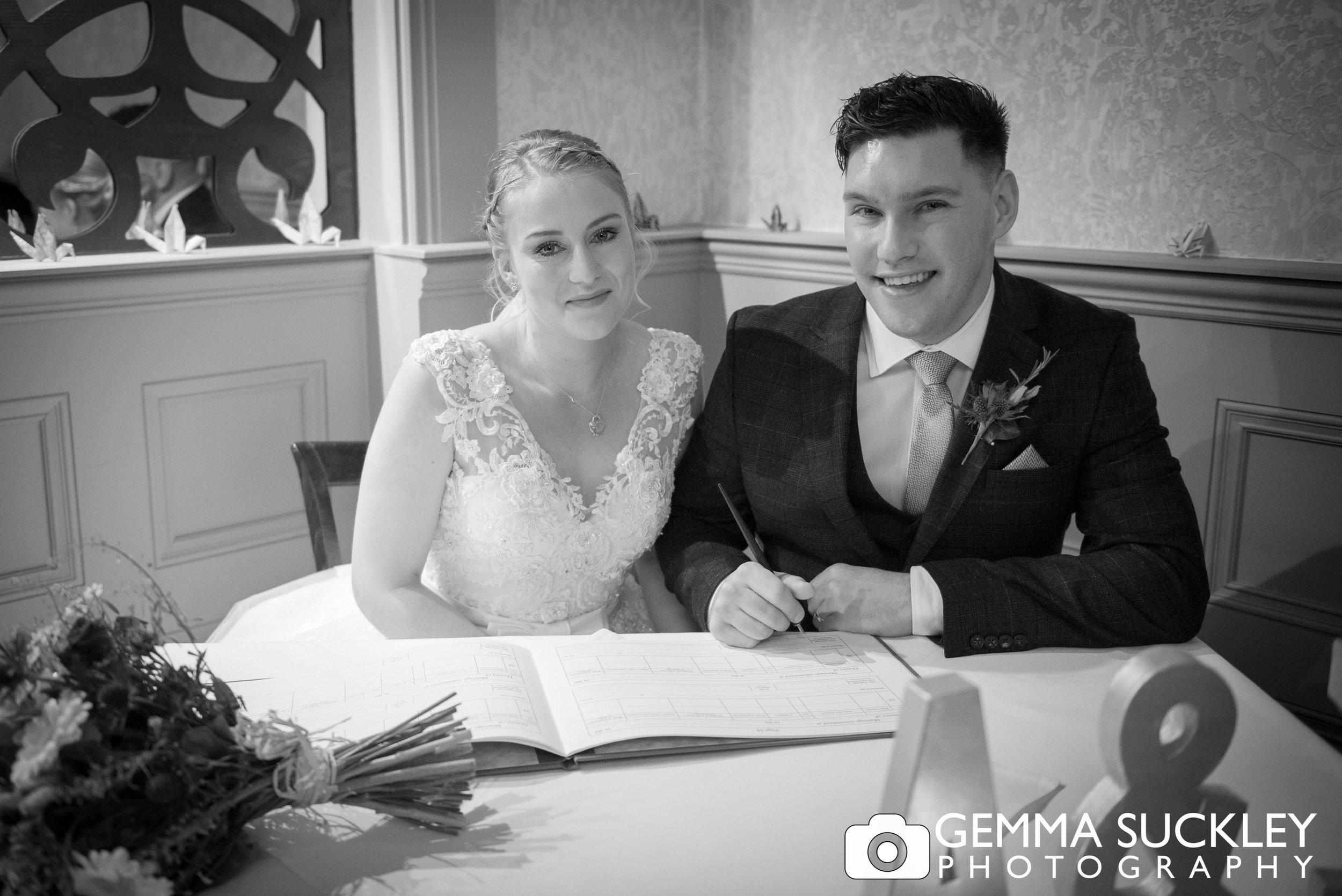 bride and groom wedding photo at grassington house