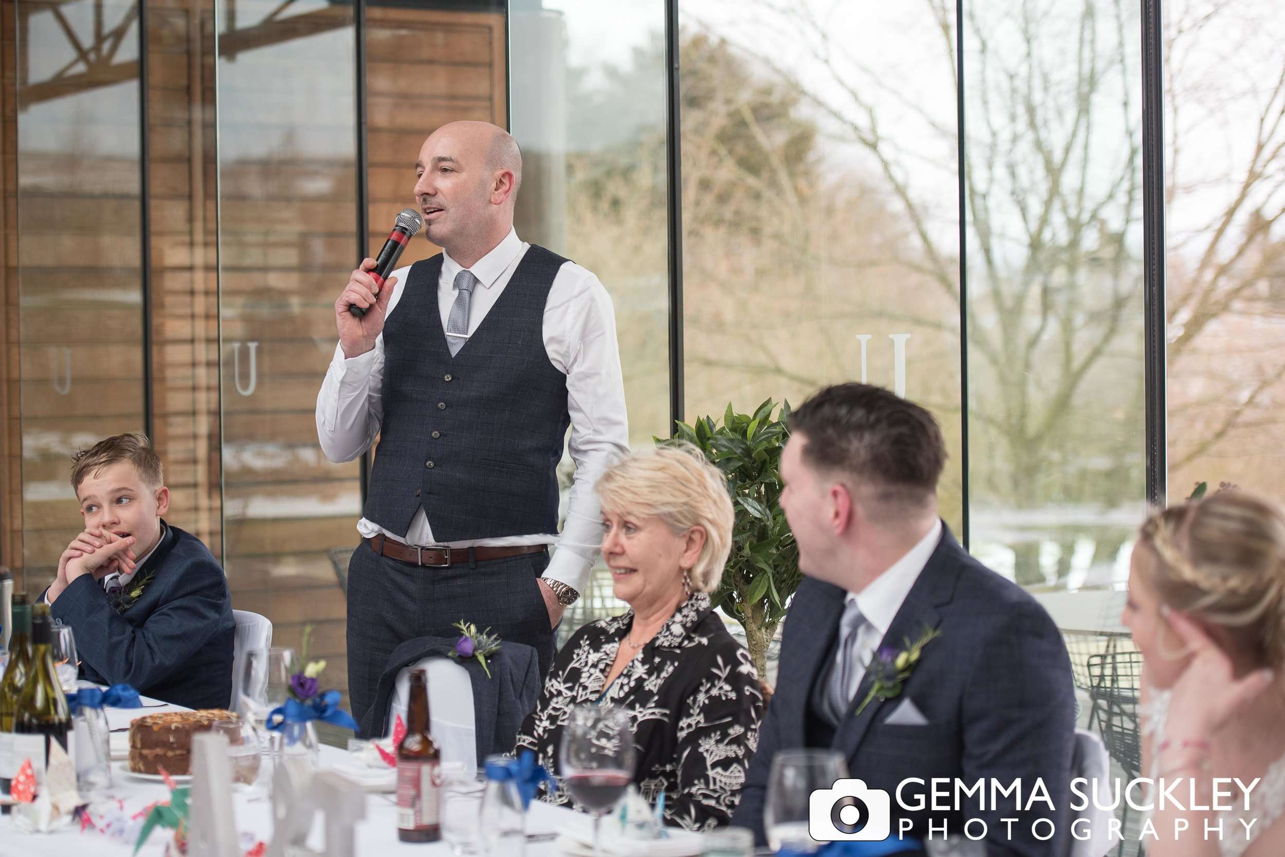 best mans speech at utopia wedding at broughton hall