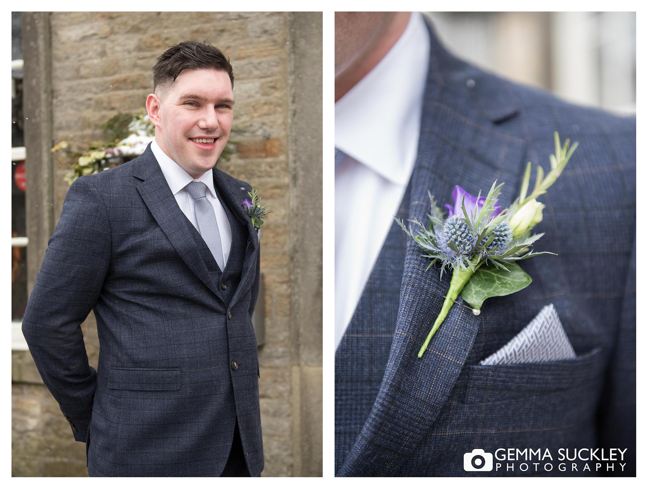 wedding photography of the groom outside grassington house