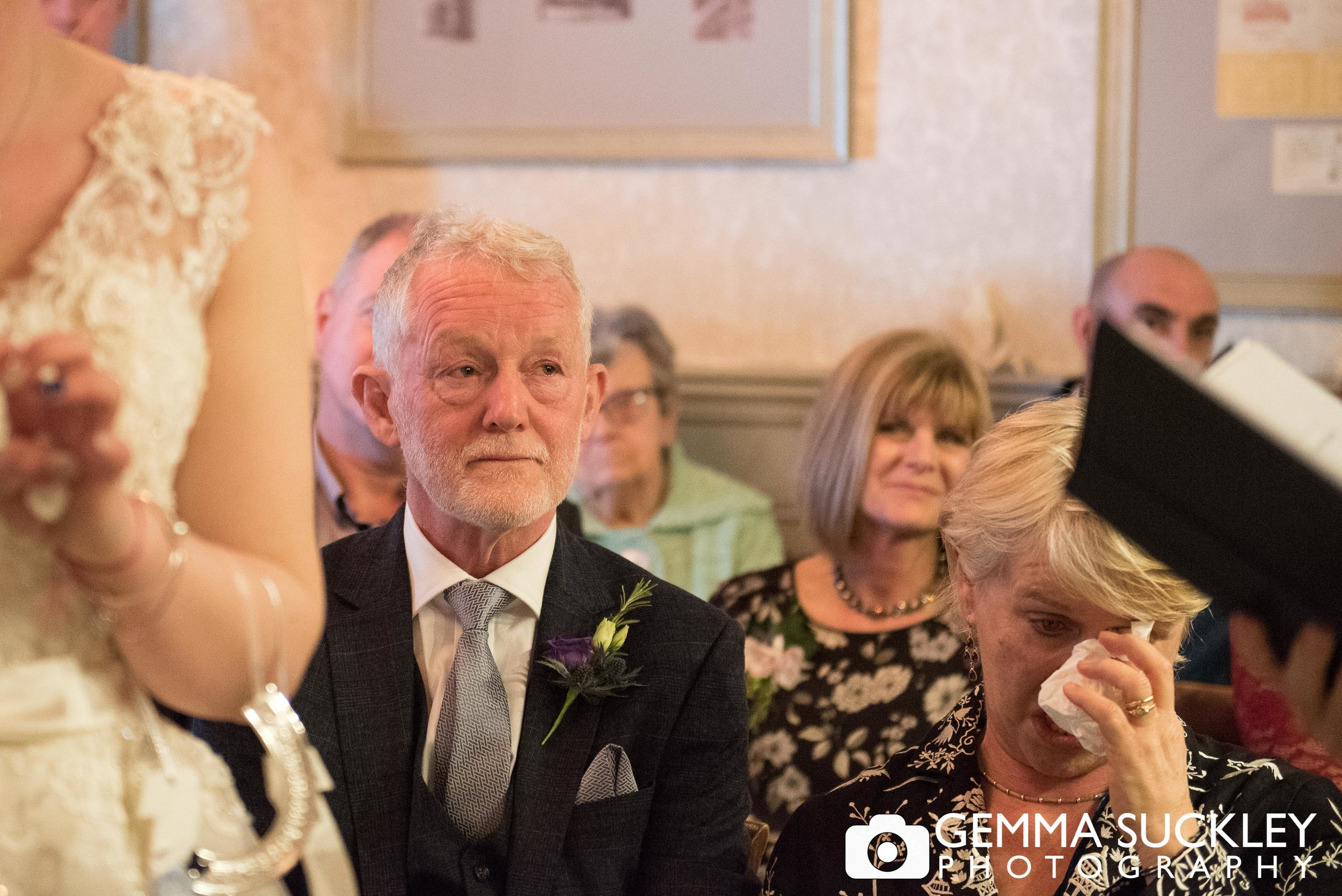 emotional wedding guests during wedding ceremony at grassington house