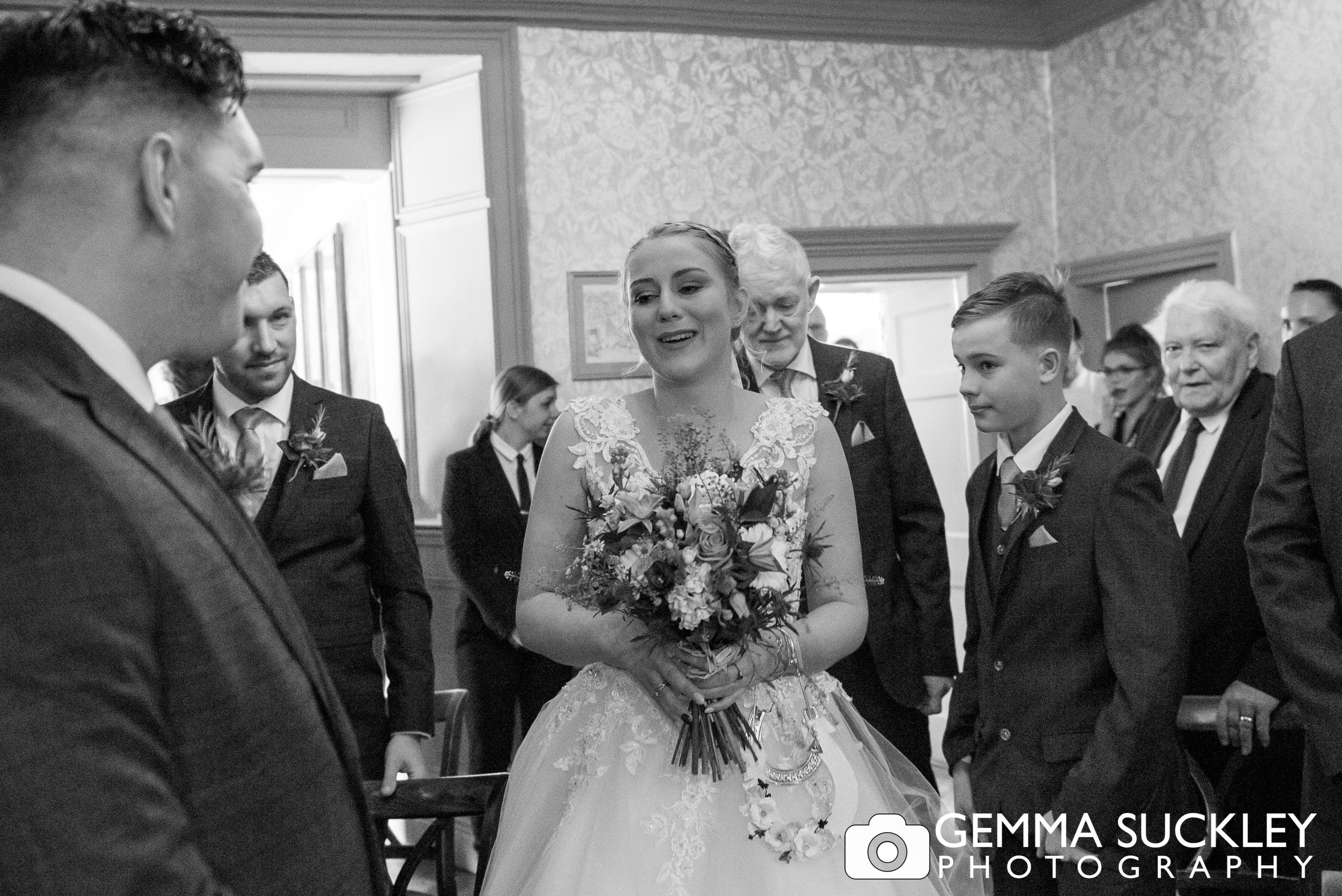 bride looking into the grooms eyes at grassington house wedding ceremony