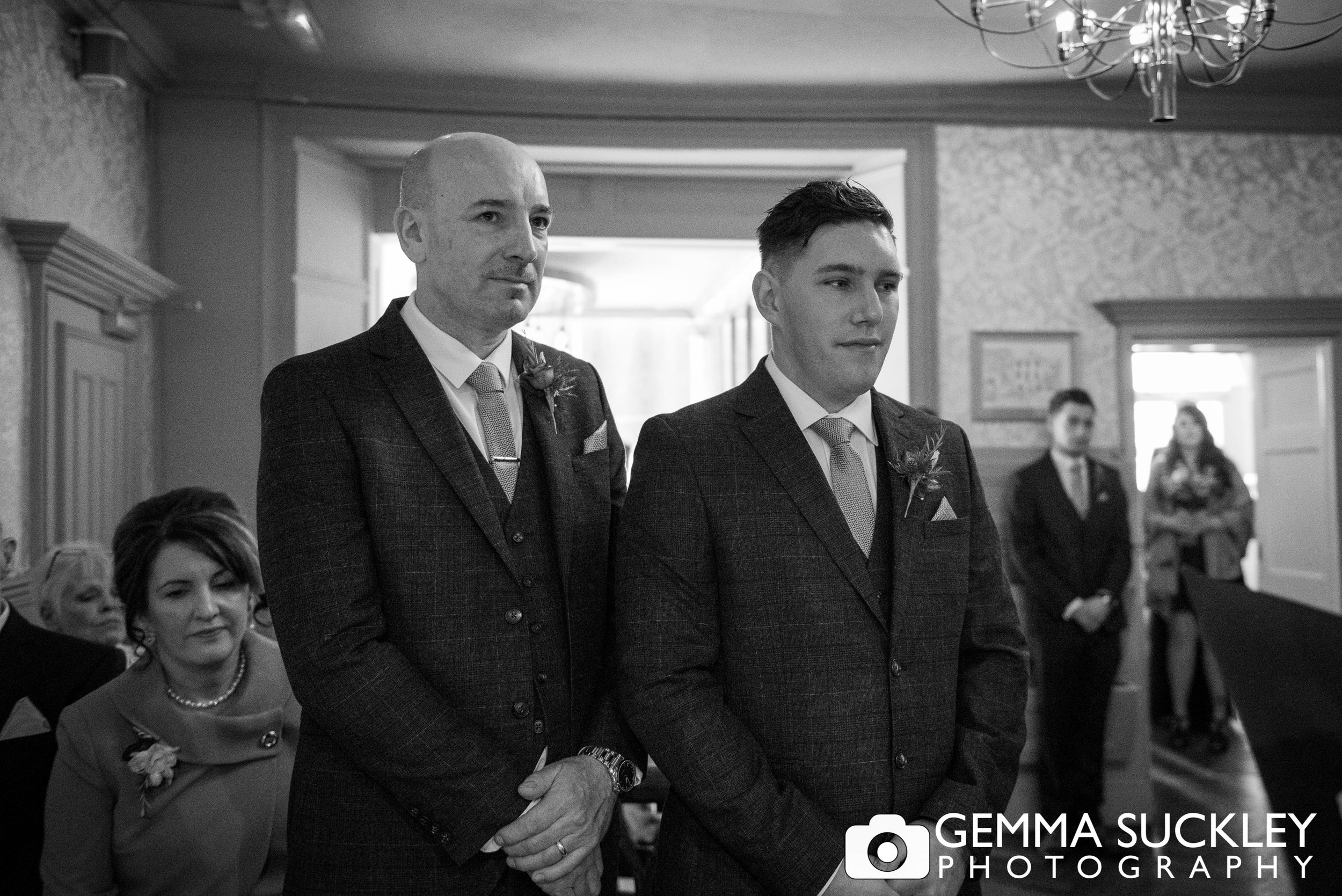 groom awaiting his bride north yorkshire wedding