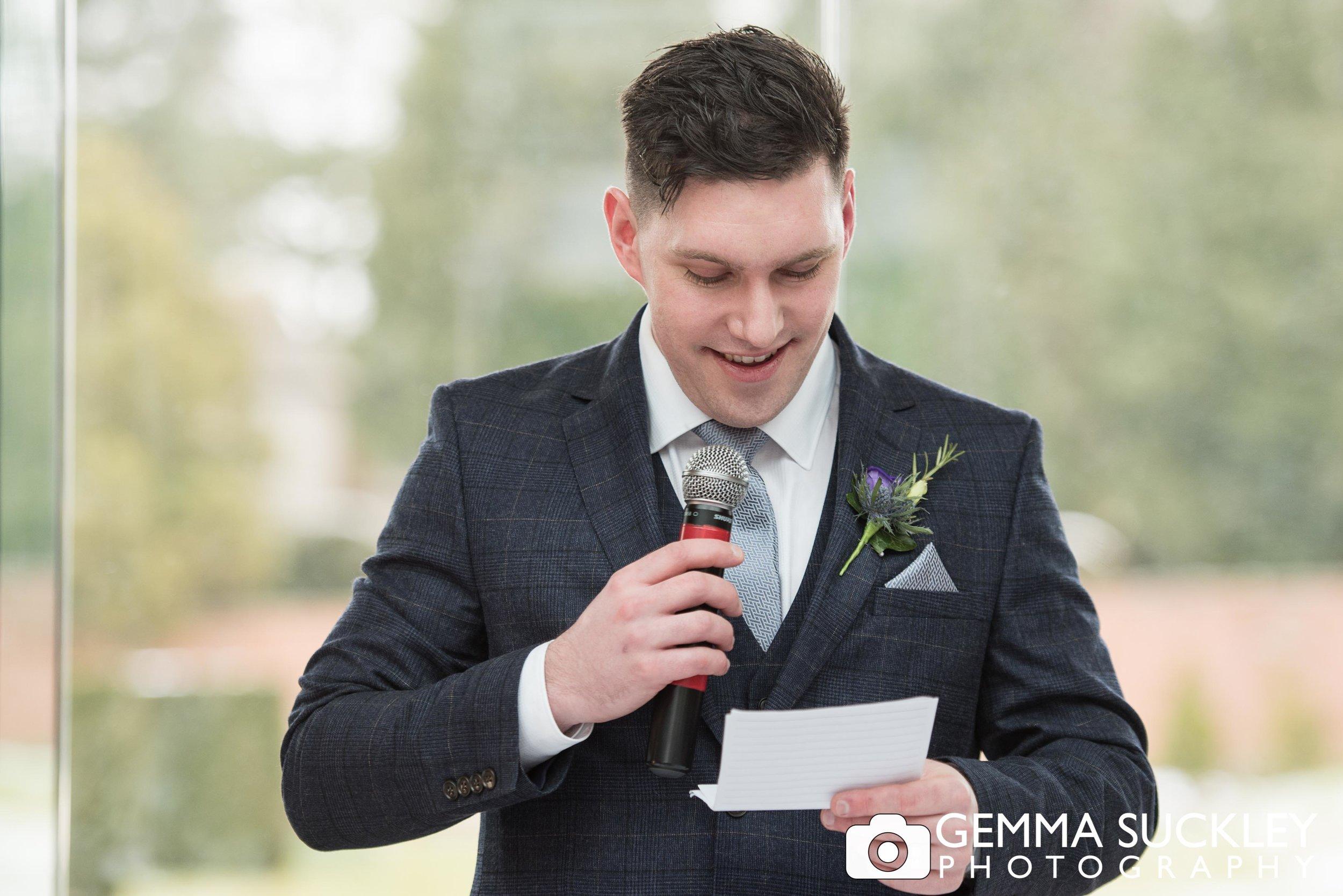 groom making his speech at utopia wedding