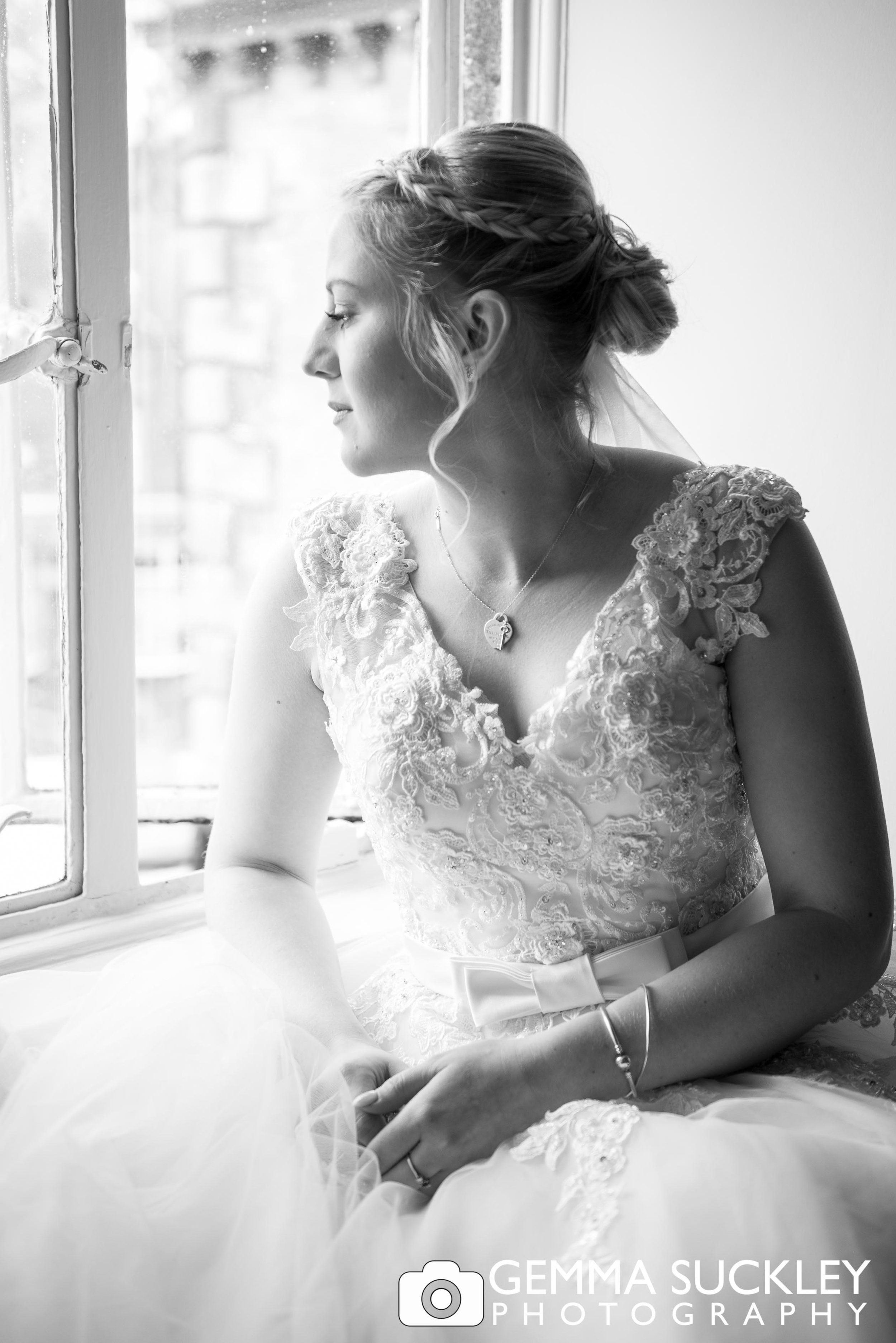 black and white wedding photography of bride at grassington house