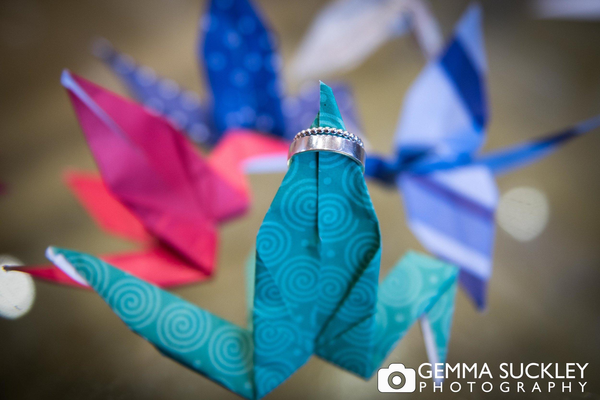 wedding ring on origami wedding favours