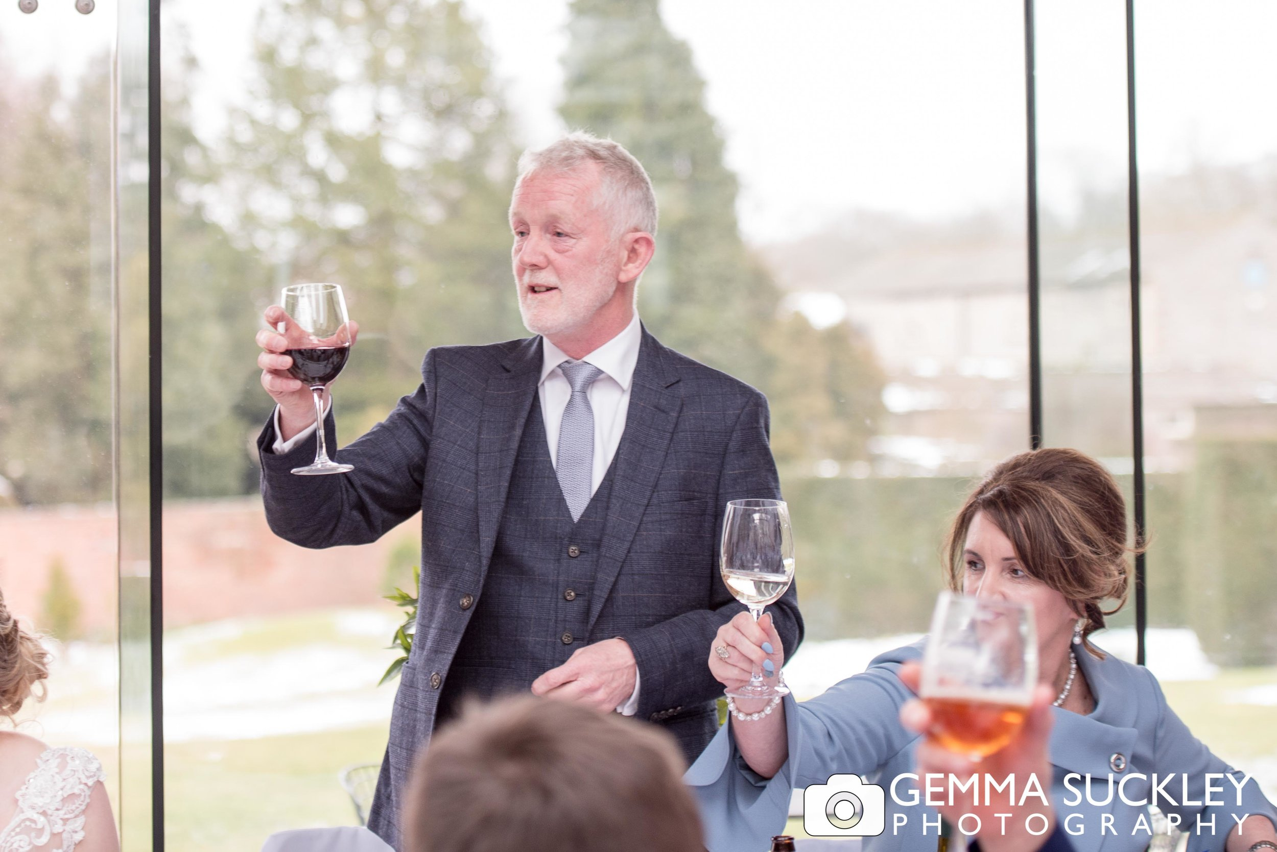 father of the bride making a toast at utopia wedding