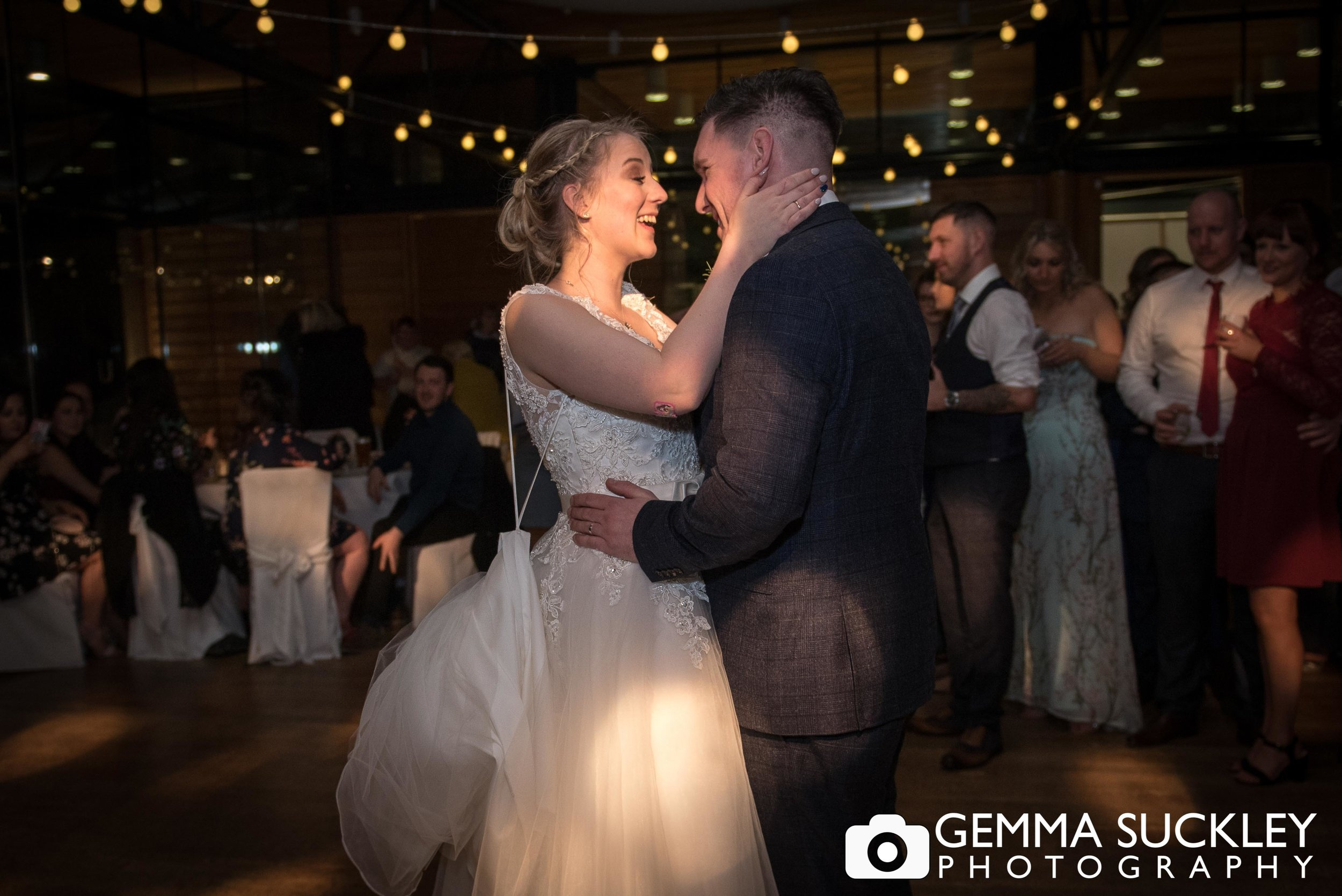 bride and grooms first dance at broughton hall utopia