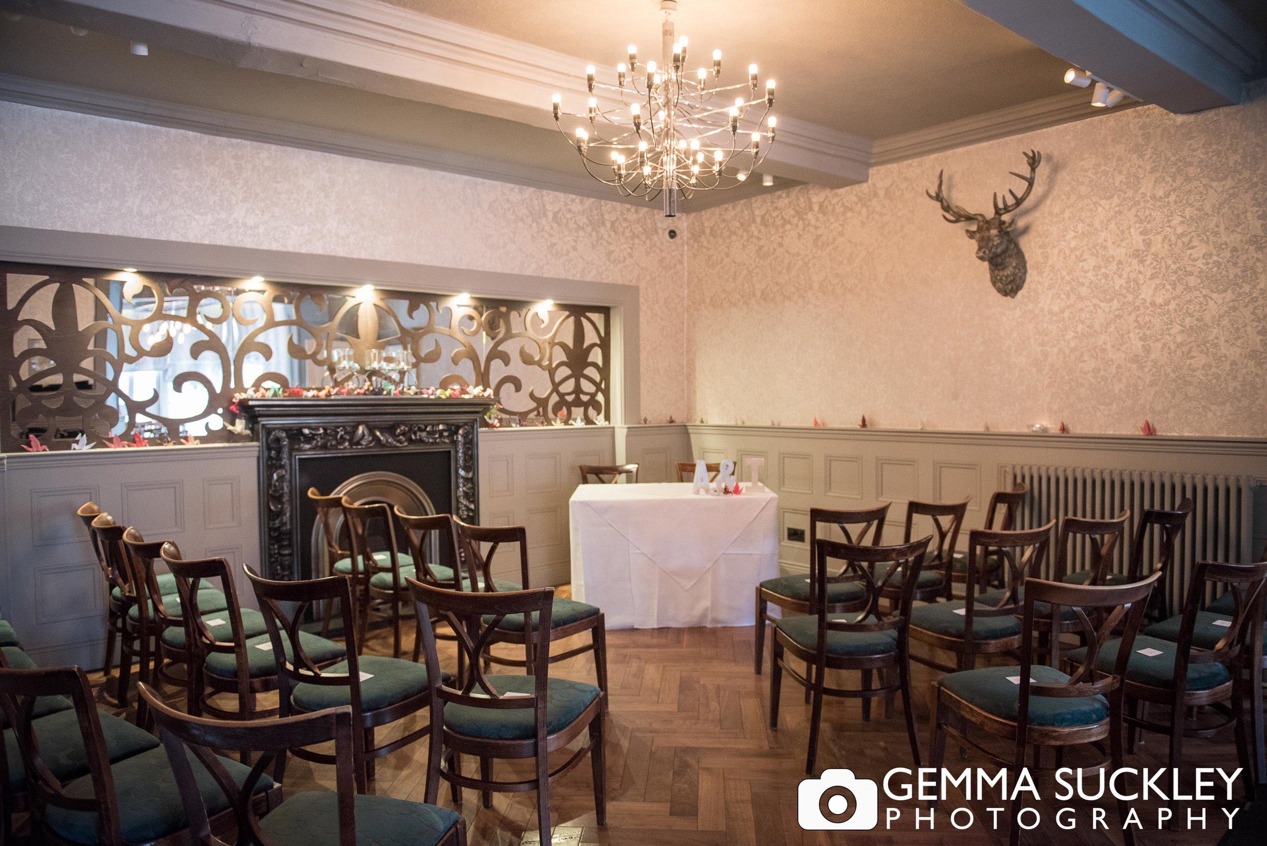 wedding ceremony room at grassington house