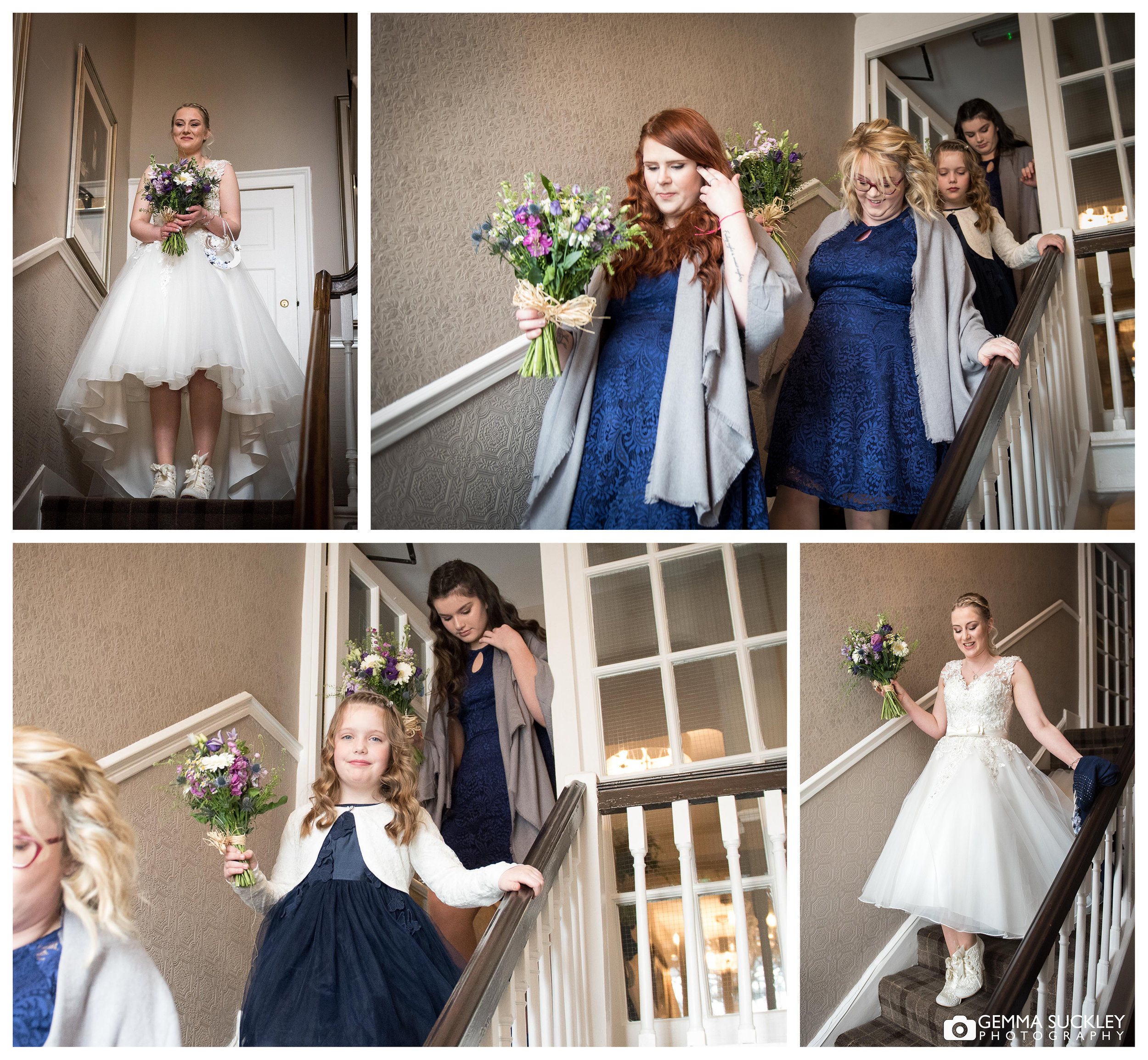 bride and bridesmaid walking through grassington house