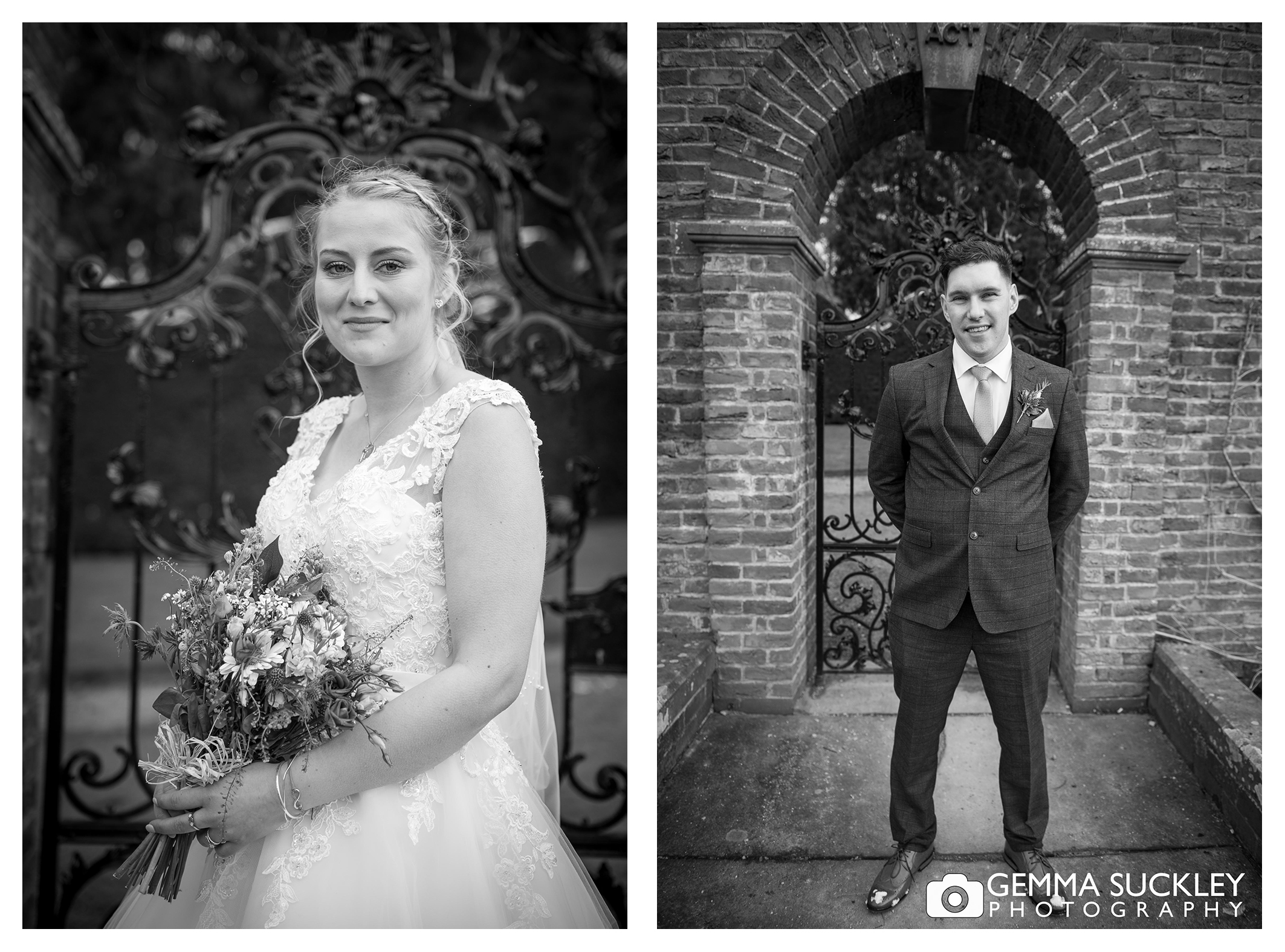 black and white wedding photography of bride and groom at broughton hall