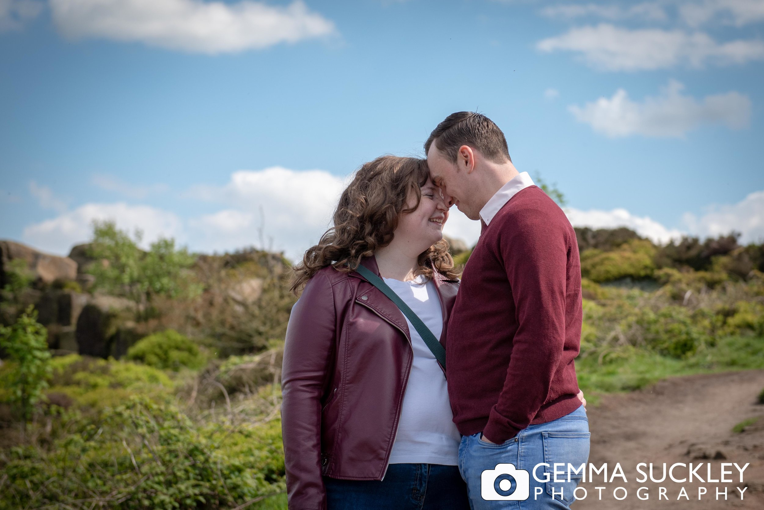 natural photo of engaged couple at otley chevin