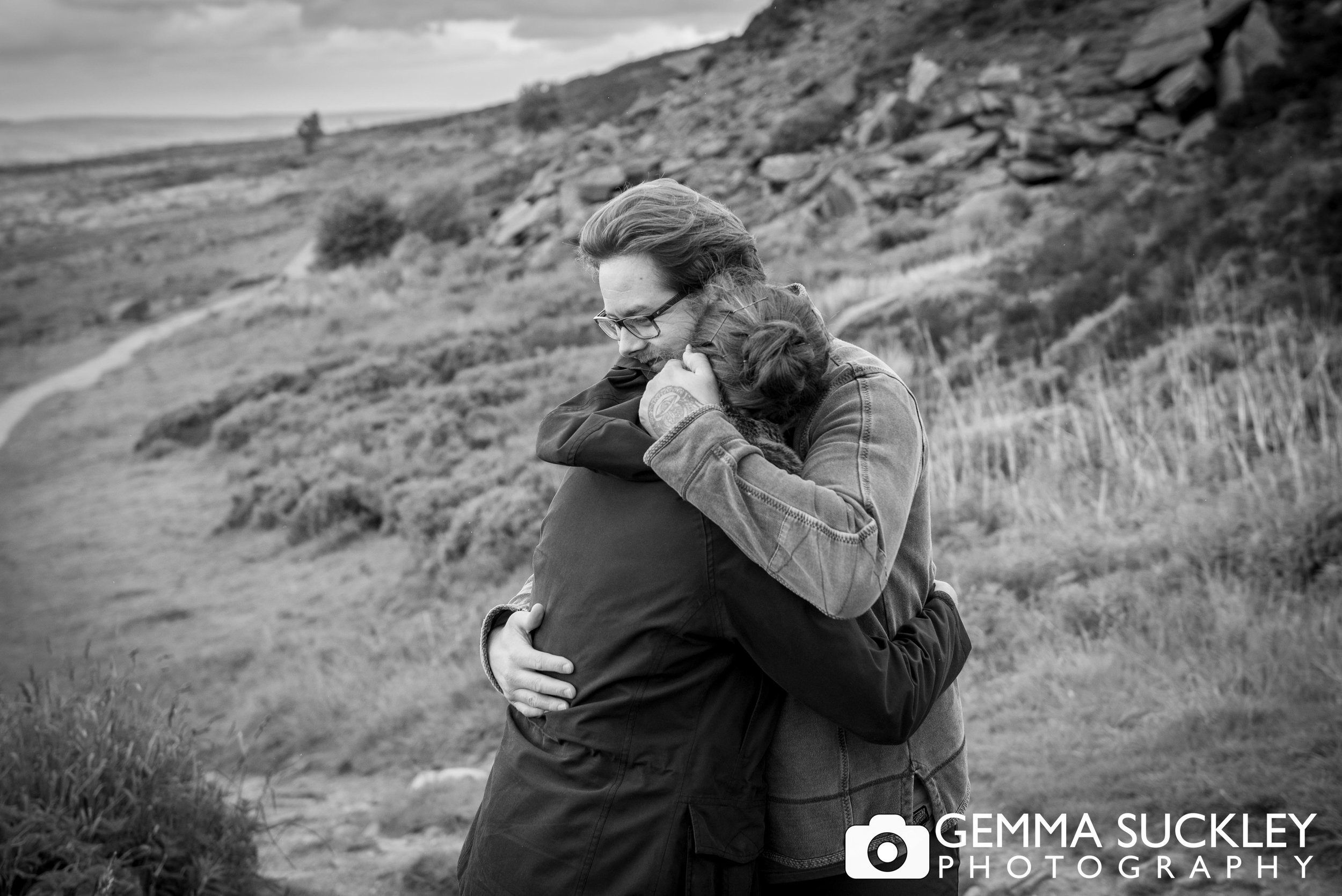 intimate photo of a couple hugging during their engagement shoot