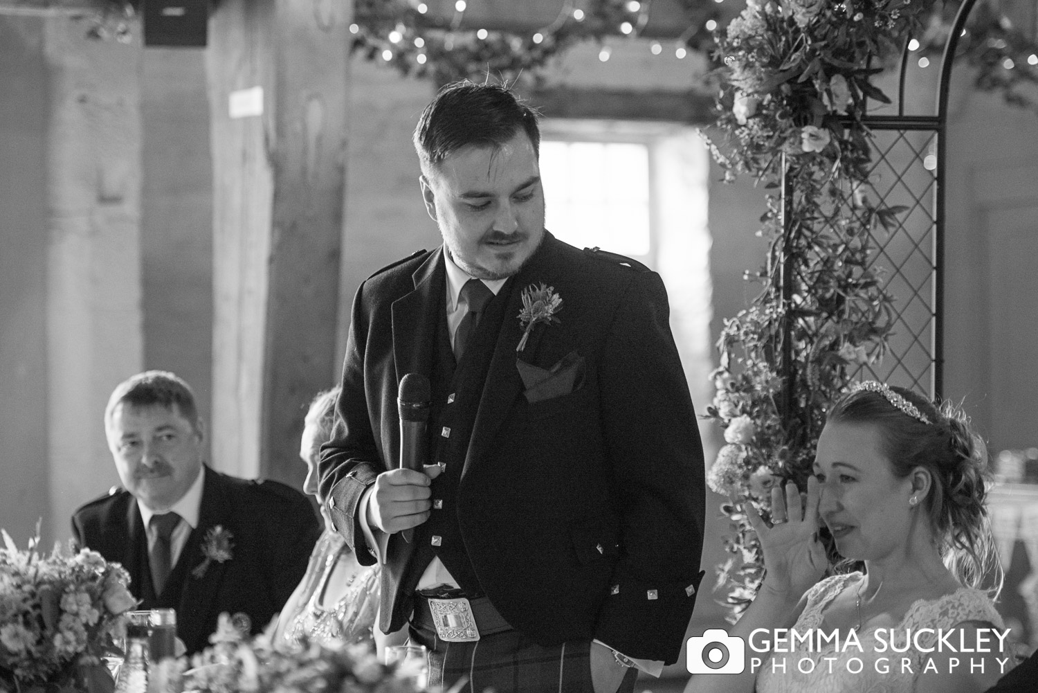 groom during his speech at east riddlsden hall