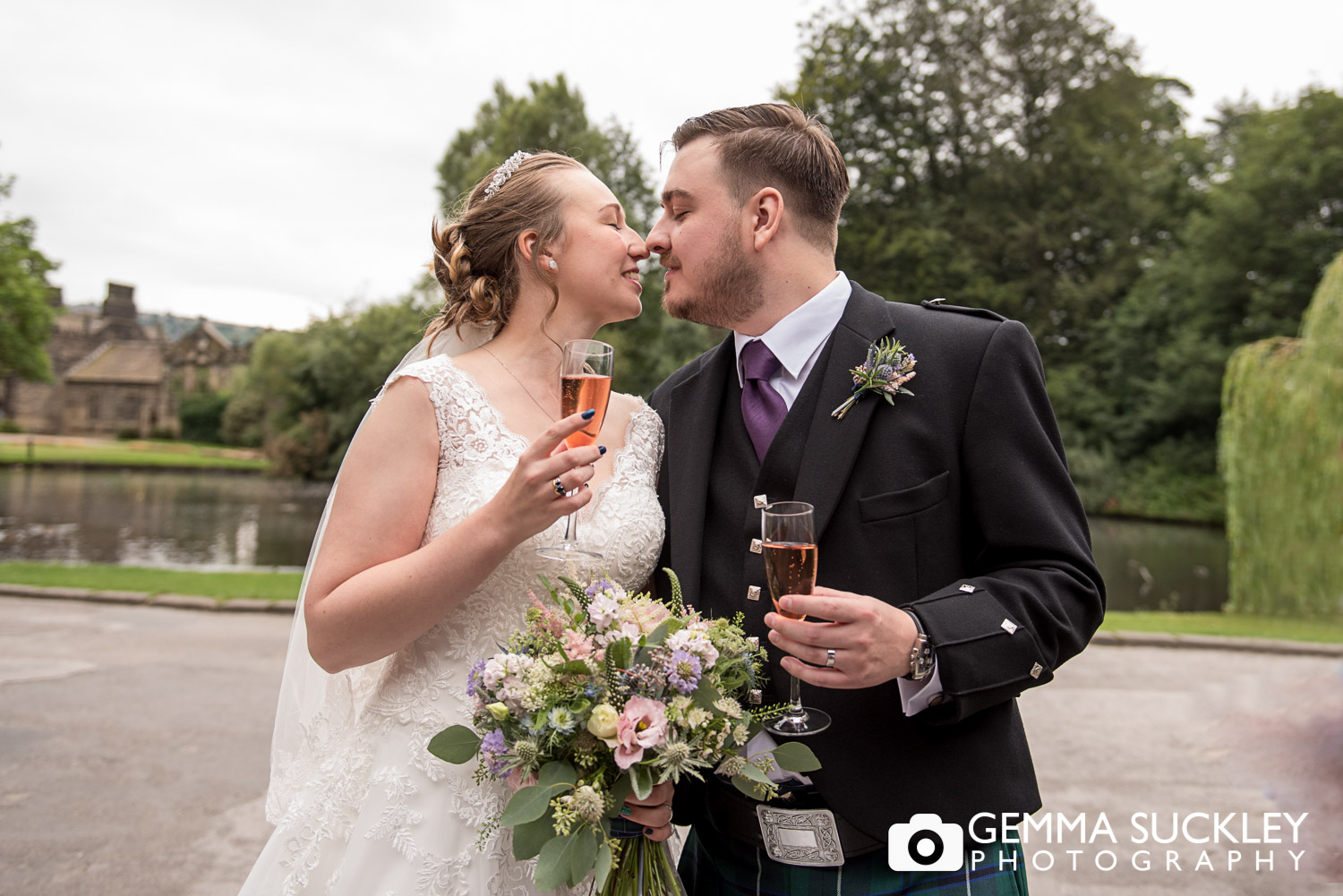 bride and groom exciting east riddlesden barn