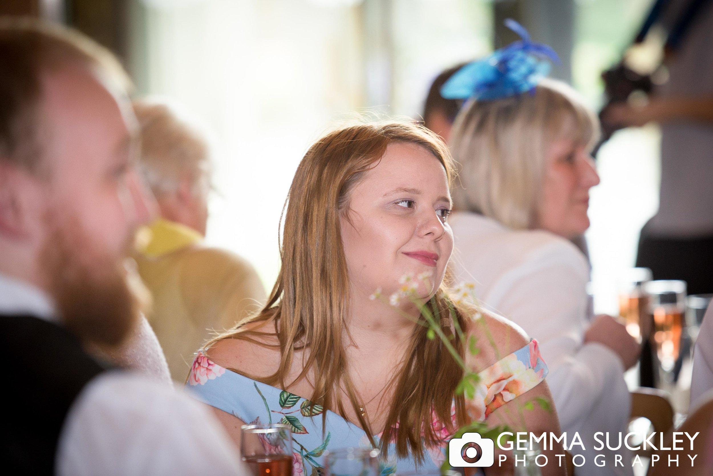guest during wedding speech at east riddlesden hall