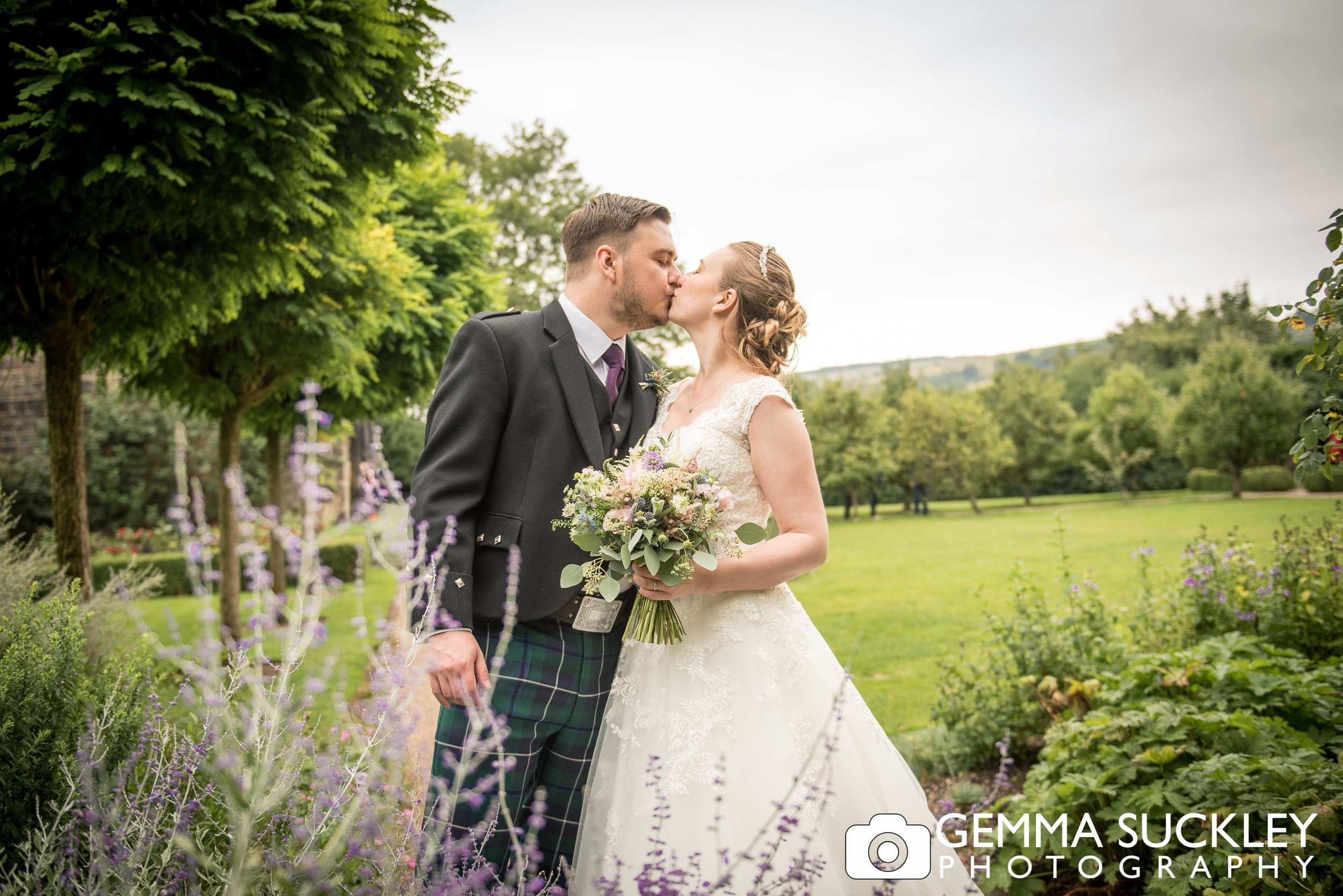 bride and groom wedding photography at east riddlsden hall