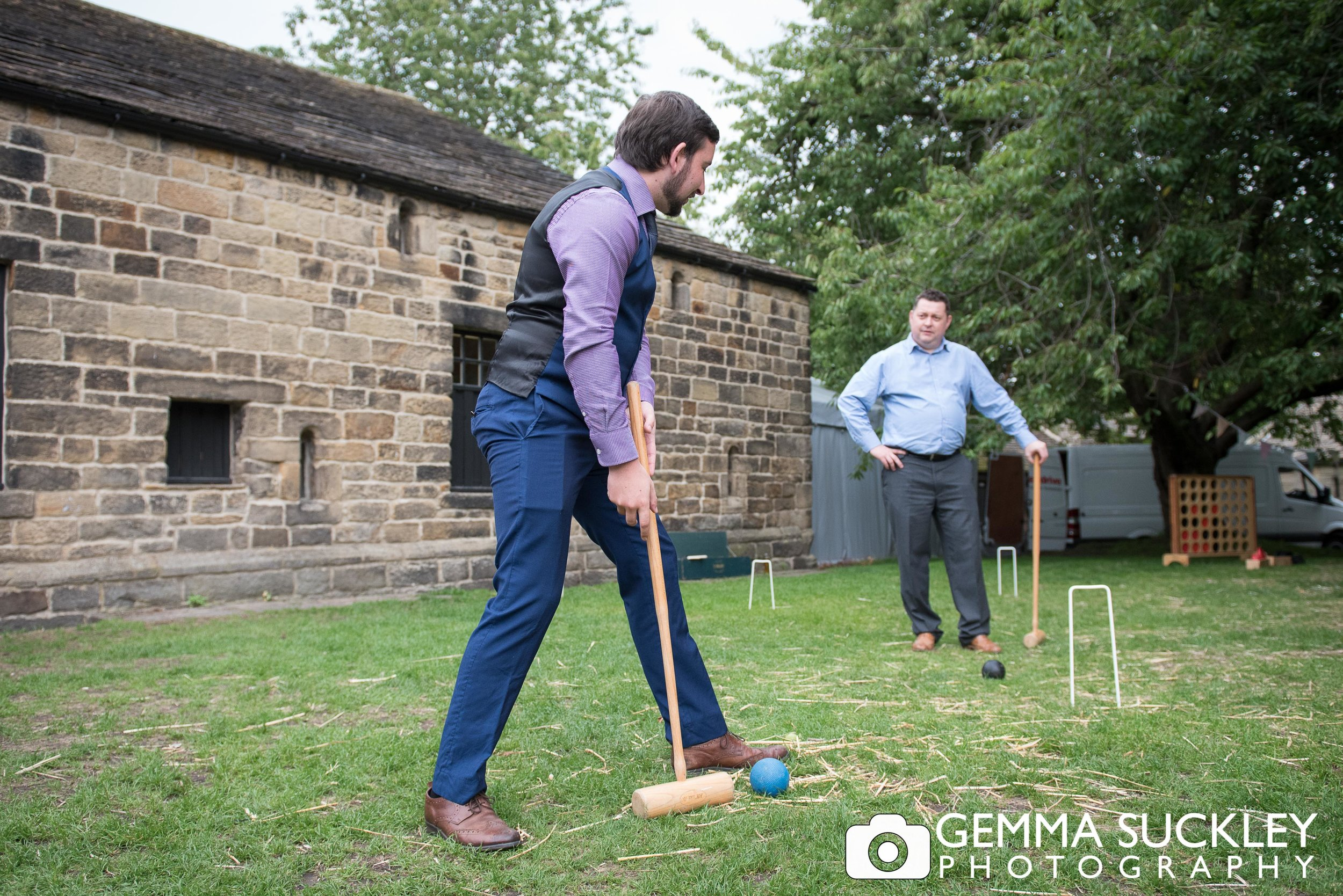 lawn games at east riddlesden hall wedding
