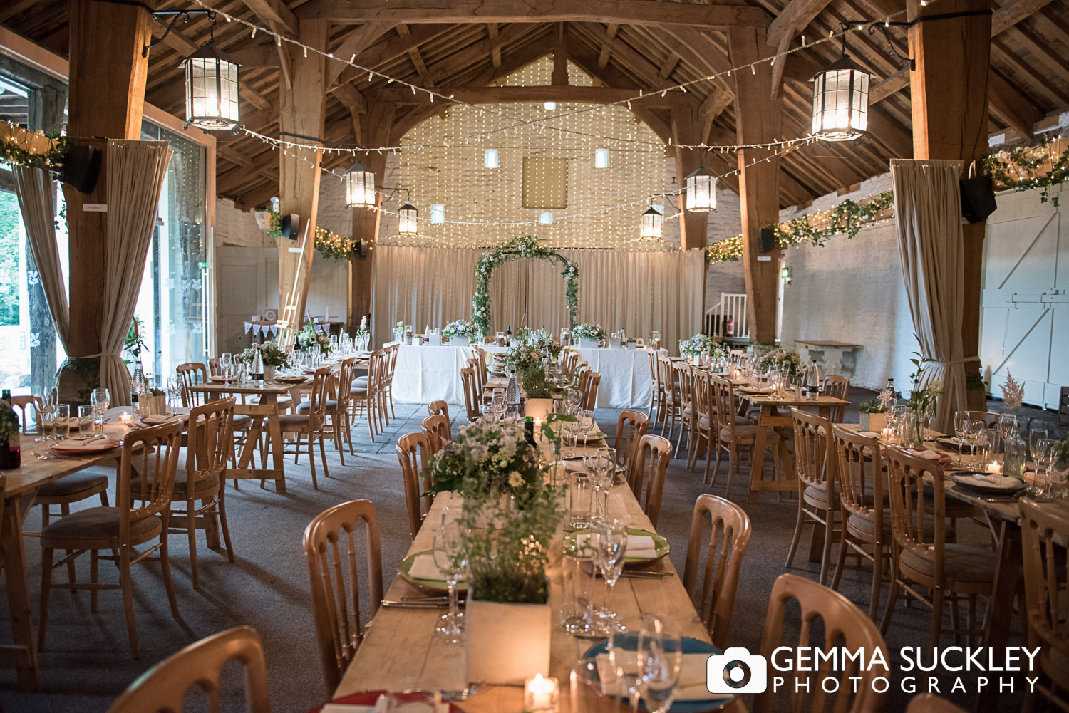 the barn decorated for a wedding at east riddlesden hall
