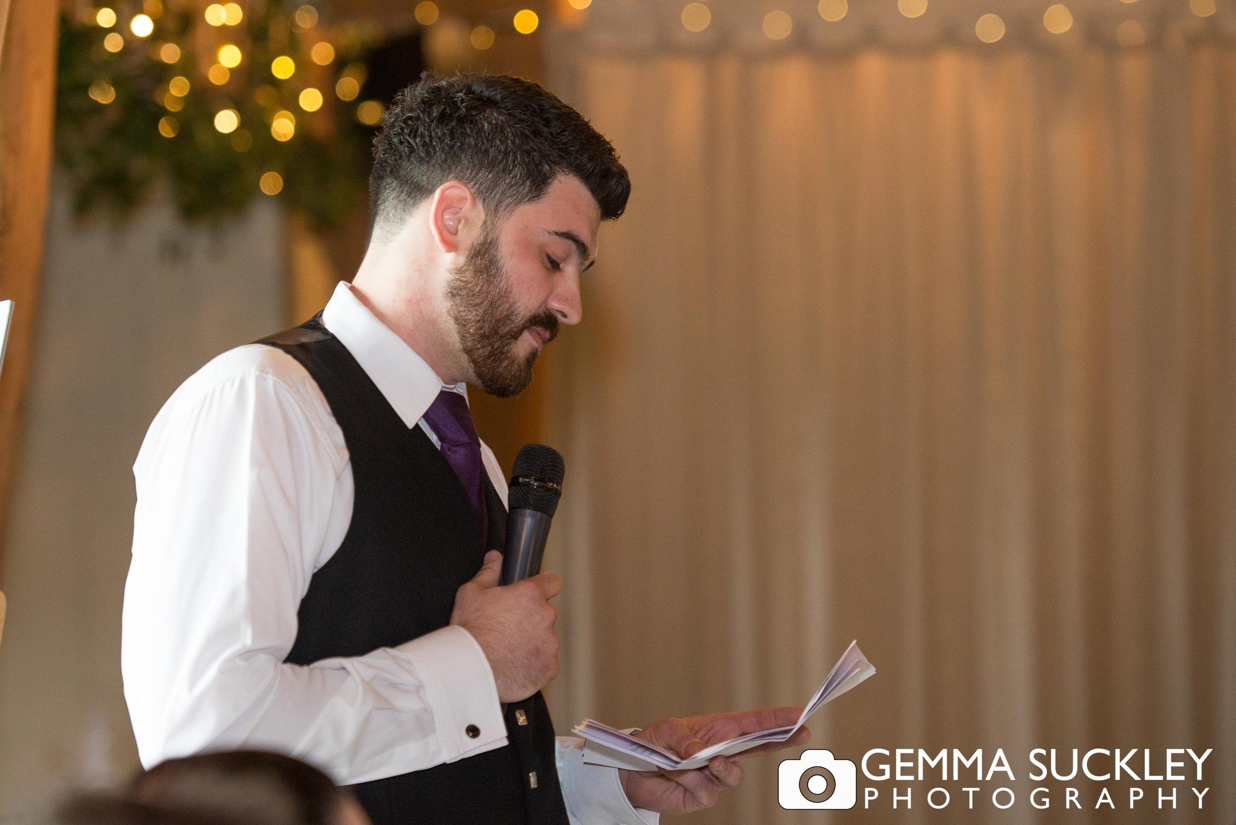 best man during his speech at east riddlesden hall