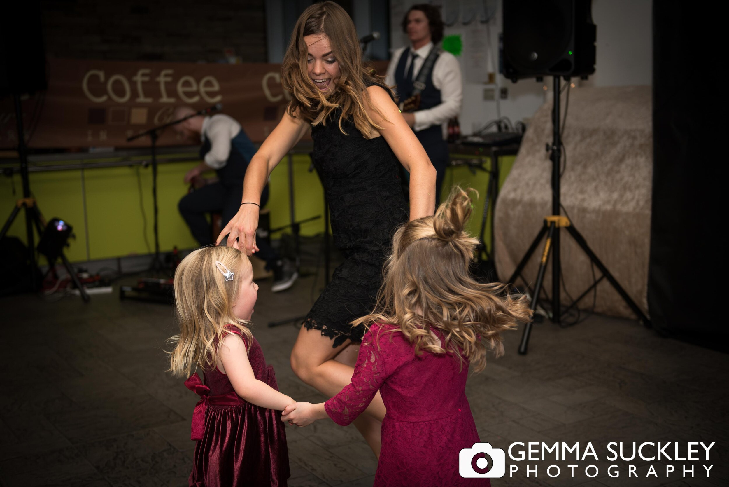 wedding guest dancing with kids in halifax