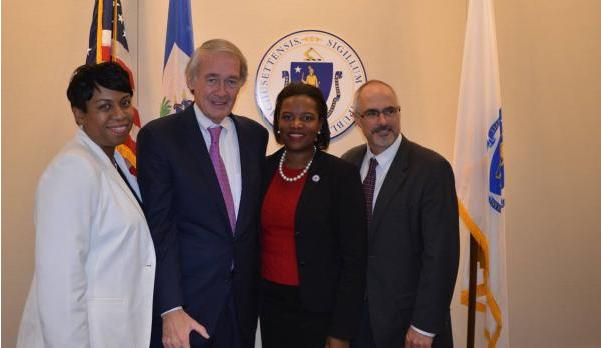 Nadia Raymond, EQ Board Member (L) with Senator Ed Markey, Senator Linda Forry, and IJDH's Brian Concannon