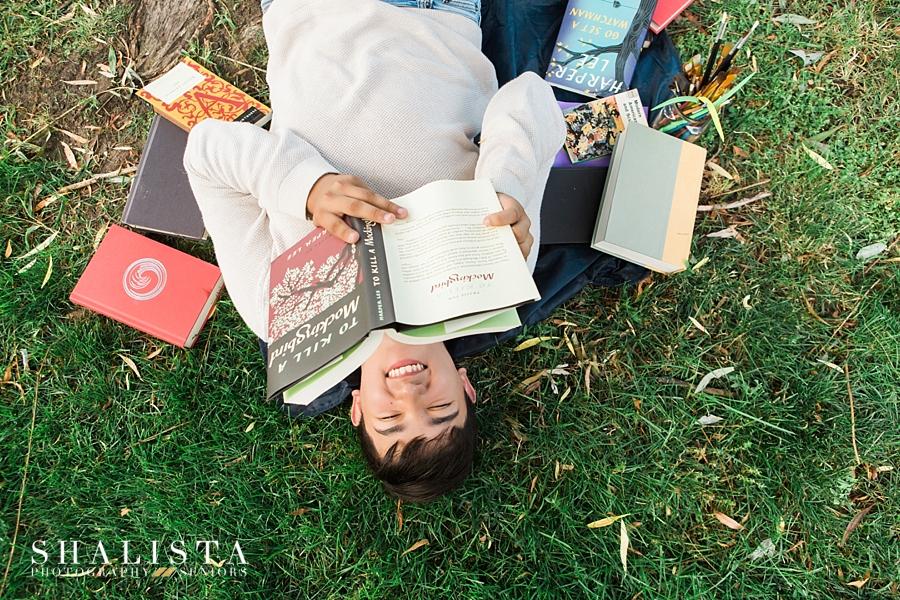 Senior guy with books