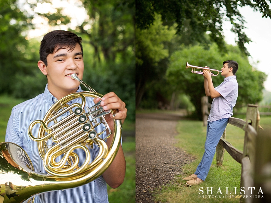 Senior guy with a french horn and trumpet