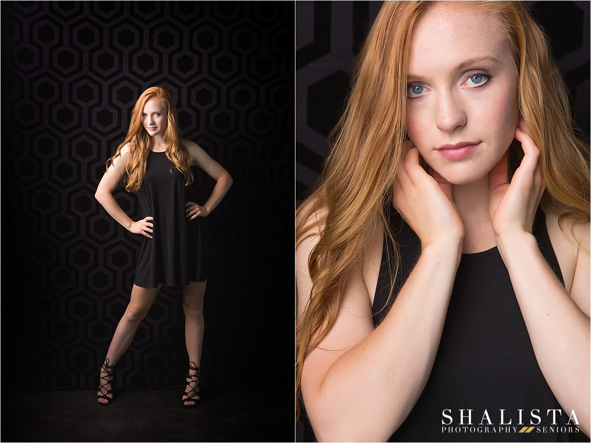 studio senior images with red hair girl