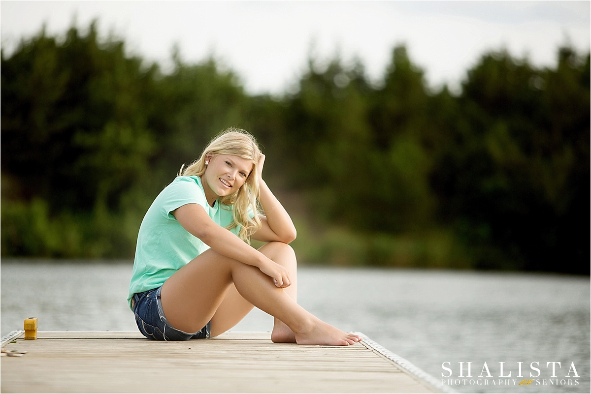 Senior girl on fishing dock