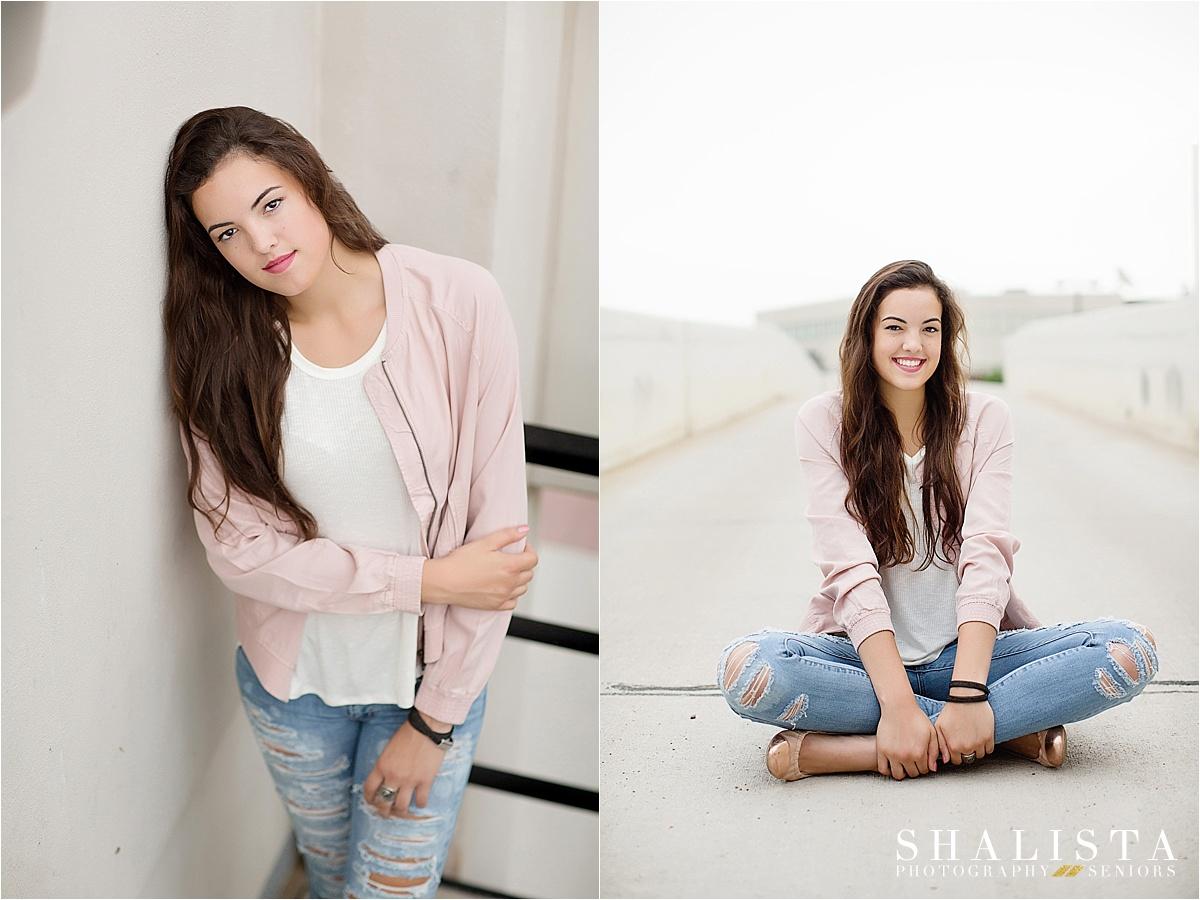 Senior girl in pink leather jacket