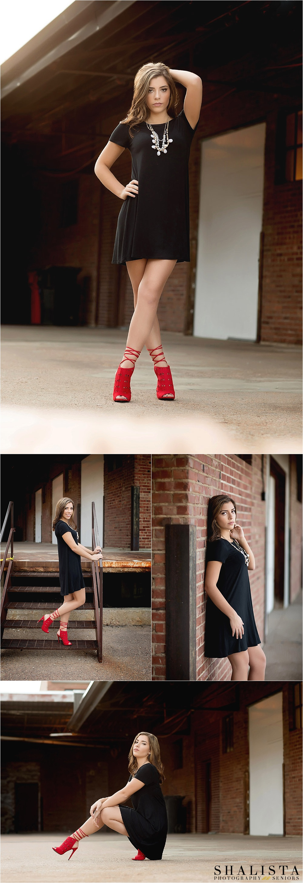 High Fashion Senior portraits in black dress red heels.