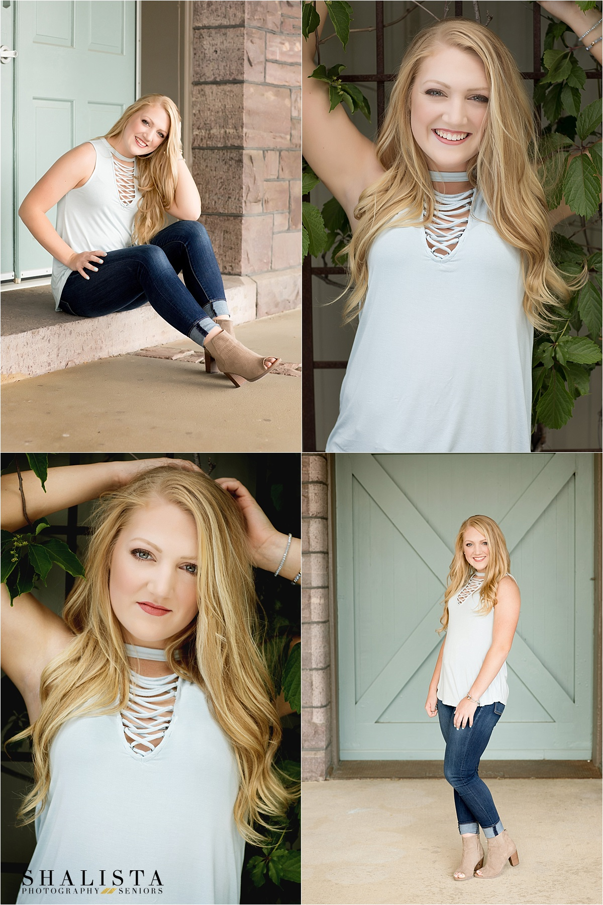 Urban senior girl by mint doors, long blonde hair