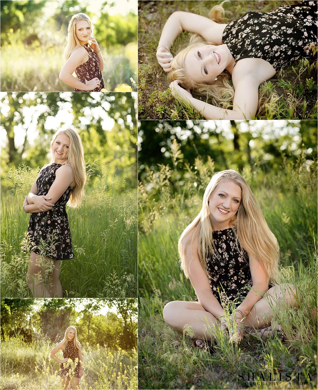 Evening backlit senior girl in tall grass. Black Romber, Blonde Hair