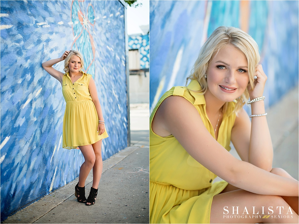 Urban blue and yellow senior pics | Shalista Photography