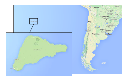 Figure 2:  Map showing the location of Easter Island in relation to Chile and the Island itself (Source: Google Maps).