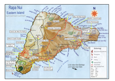 Figure 4:  Map of Easter Island showing the national park areas and locations of tourist attractions (Source: Sernatur).