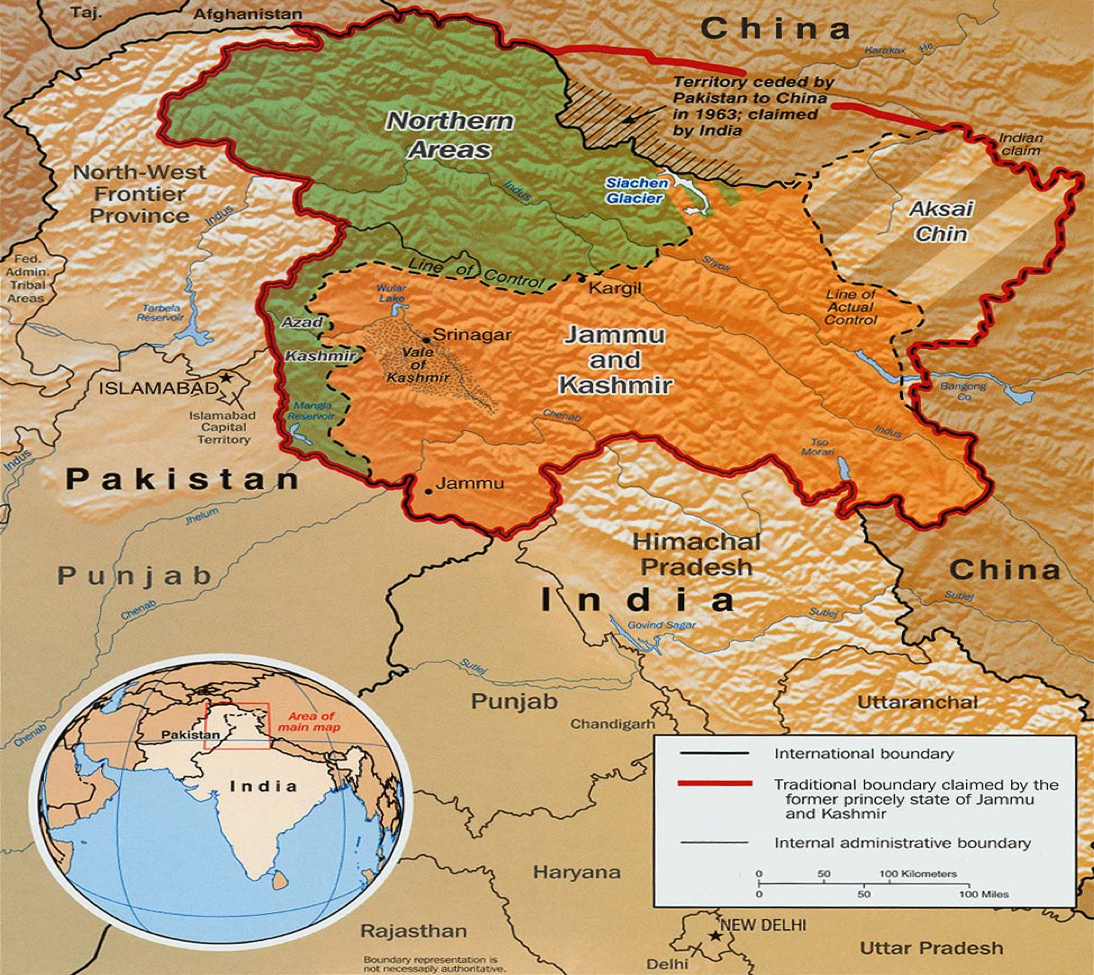 Figure         SEQ Figure \* ARABIC       2          . A map of territorial disputes between India, China and Pakistan. Source: University of Texas Map Library.