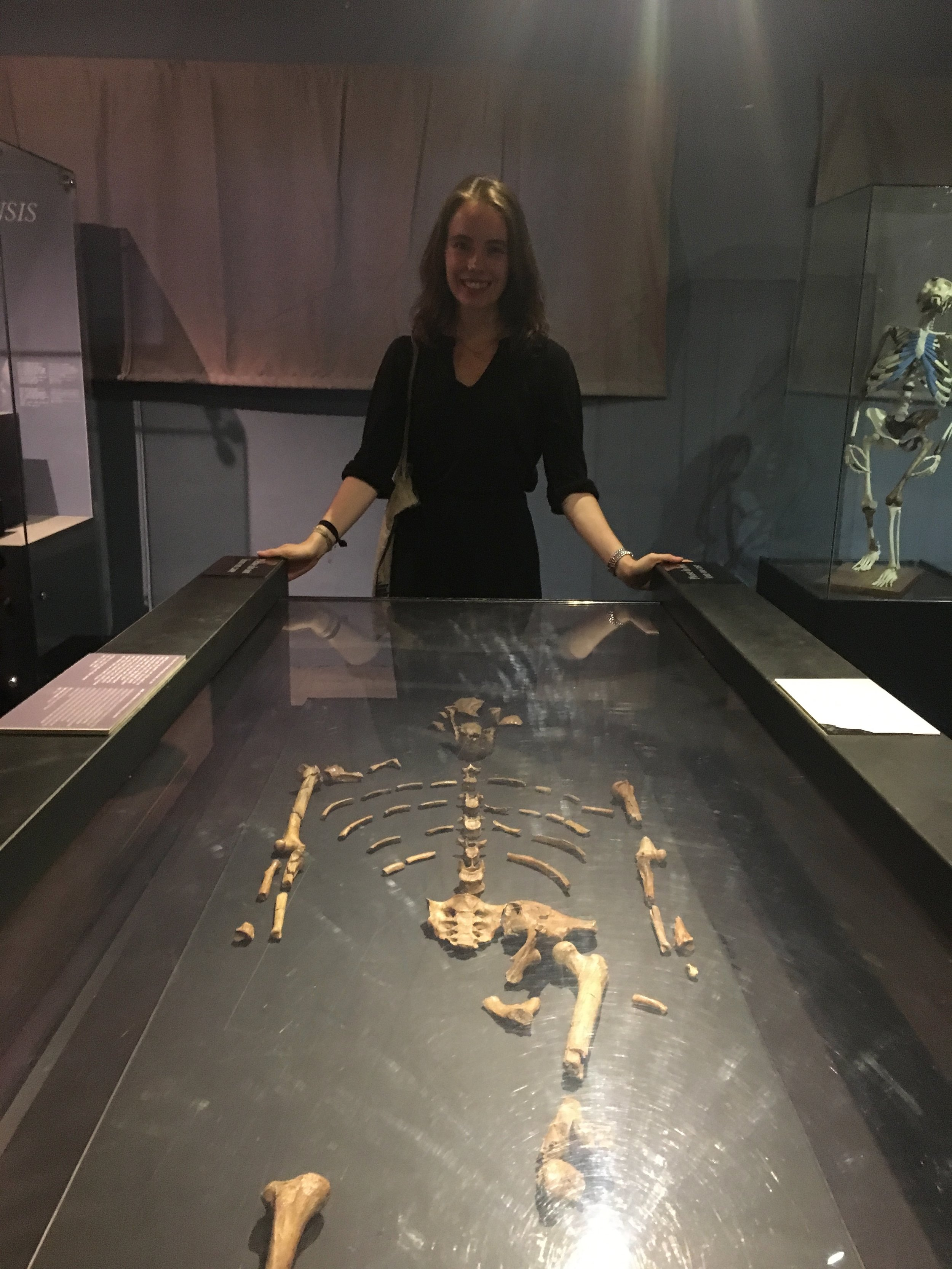 Rachel with Lucy, one of the oldest semi-complete hominoid remains.