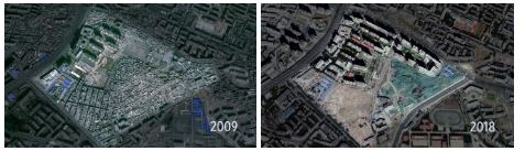 Urumqi's Heijiashan neighborhood was once the heart of the city, but is now in the process of being rebuilt by the Chinese government.    Source: Wall Street Journal [9]
