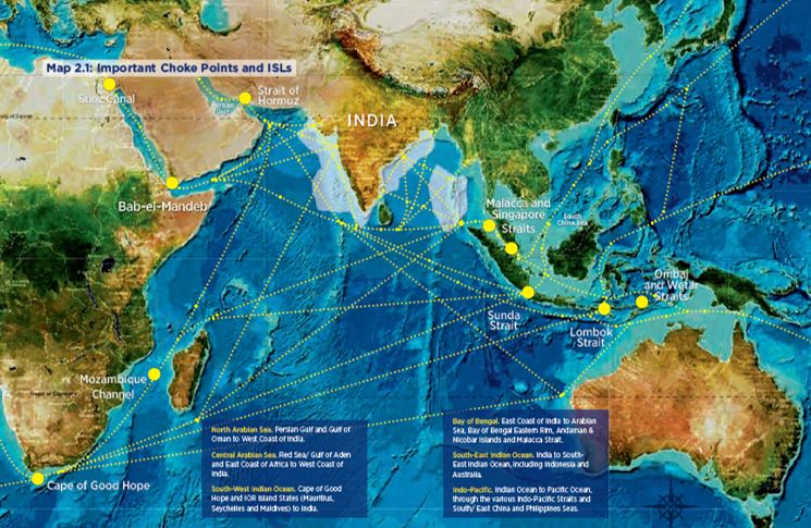 Figure 1: Important Choke Points for the Indian Navy  [i]