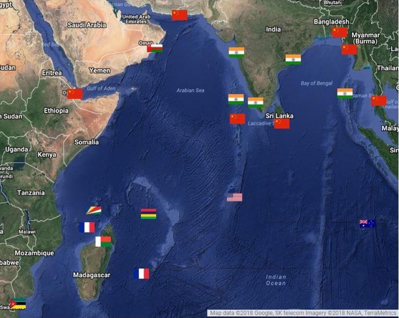Figure 4: Chinese Naval Bases- String of Pearls [iv]   [Chinese Naval Bases and Maritime Projects L to R: Djibouti, Gwadar, Pakistan; Ihavandhippolhu, Maldives; Hambantota, Sri Lanka; Chittagong, Bangladesh; Kyaukpyu, Myanmar; Kra Isthmus, Thailand]