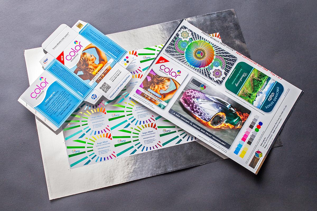 Foil Effects +White Ink +CMYK on UltraDigital Silver Foil Board 12pt