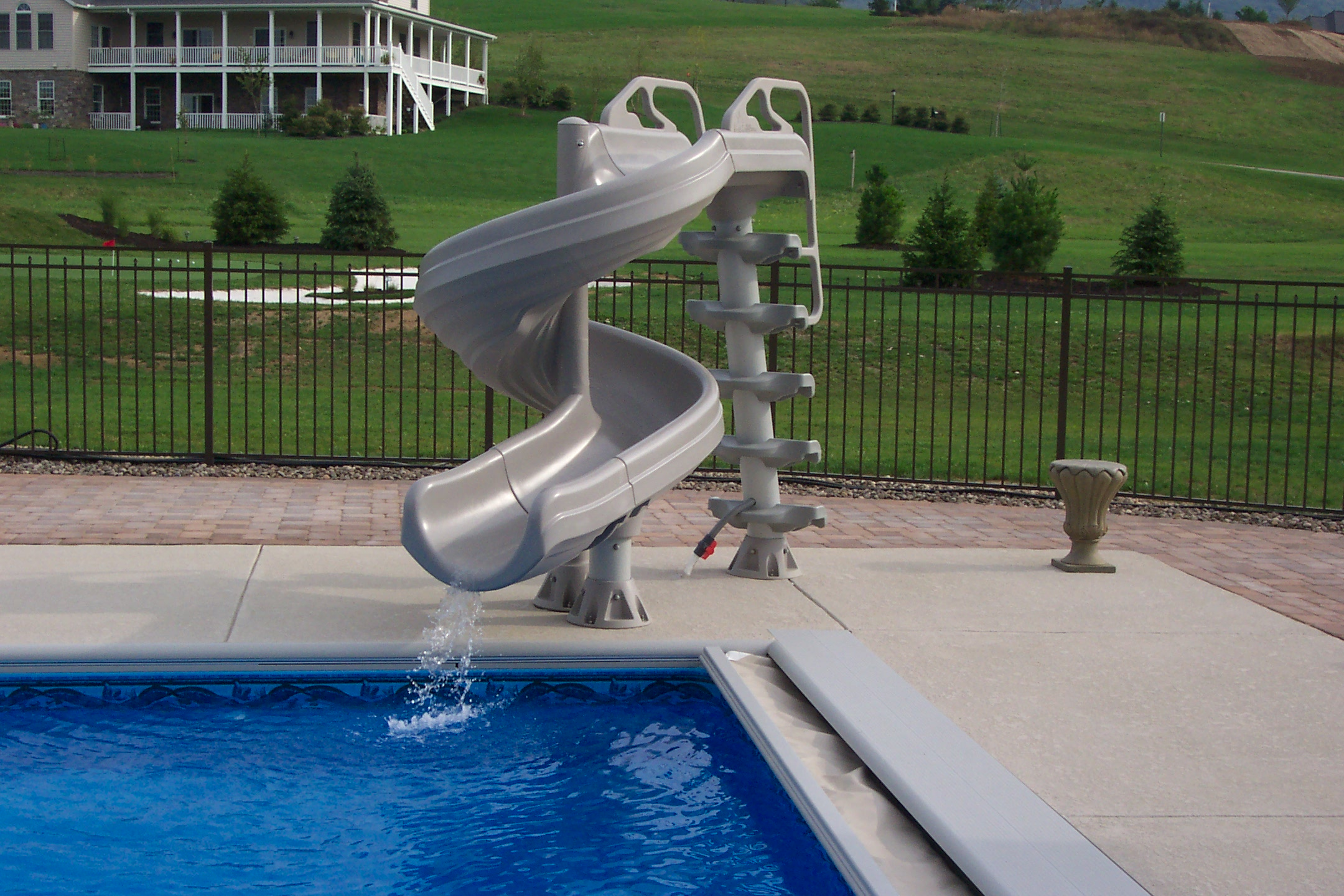 Custom Pool with Automatic Cover and Slide