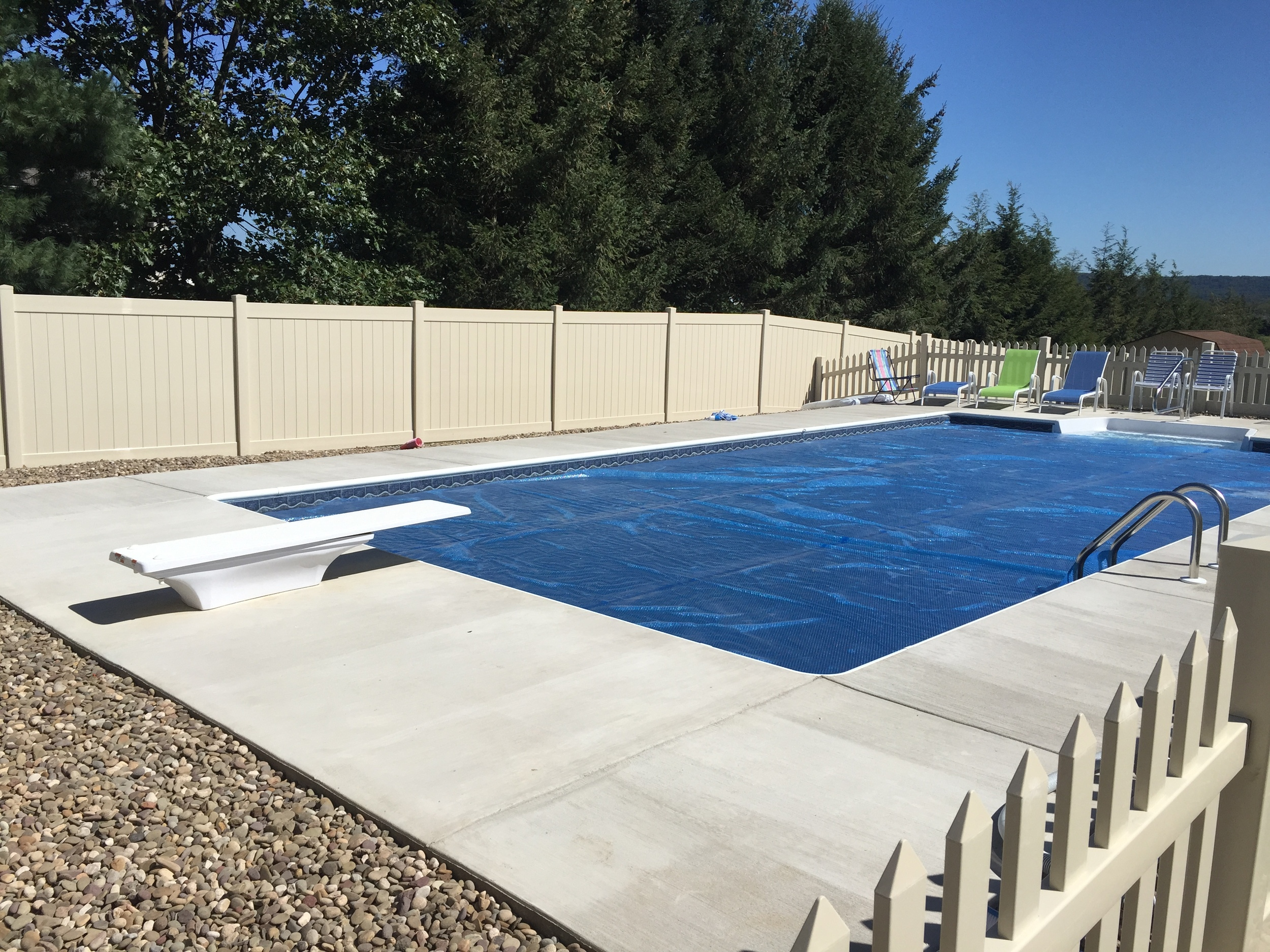 Custom Pool with Dive and Fence