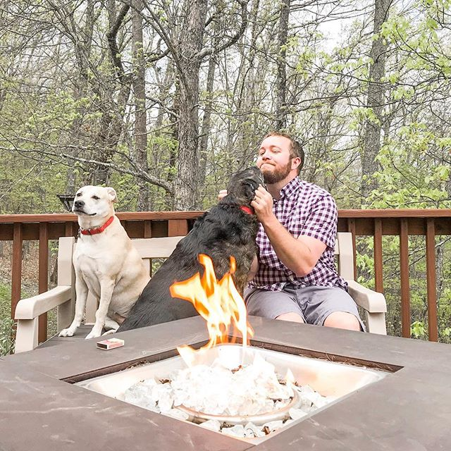 Dog kisses, beer, fire