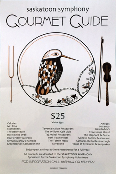 Saskatoon Symphony Gourmet Guide poster.