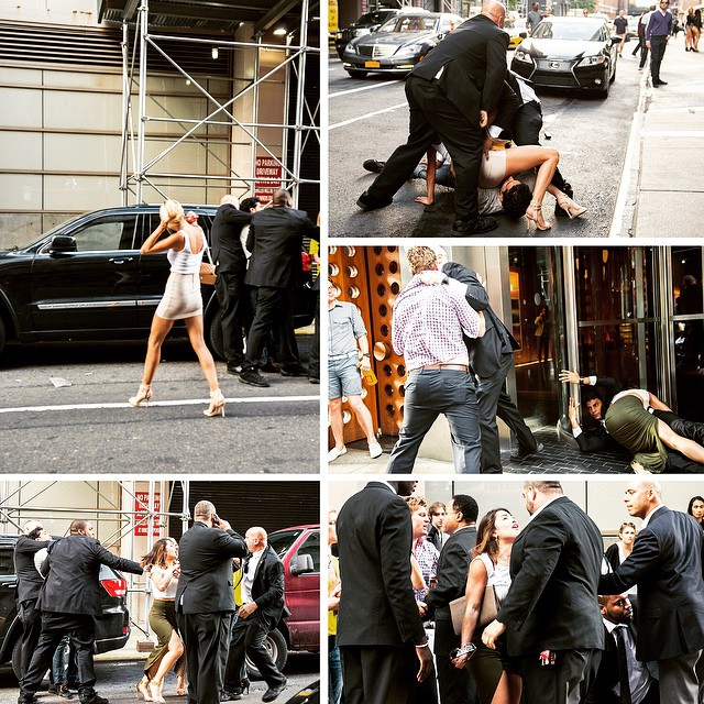 Scrapping outside the Dream Hotel. May 2014. #fembotsbattle #overagressivesecurity #chazzrumble